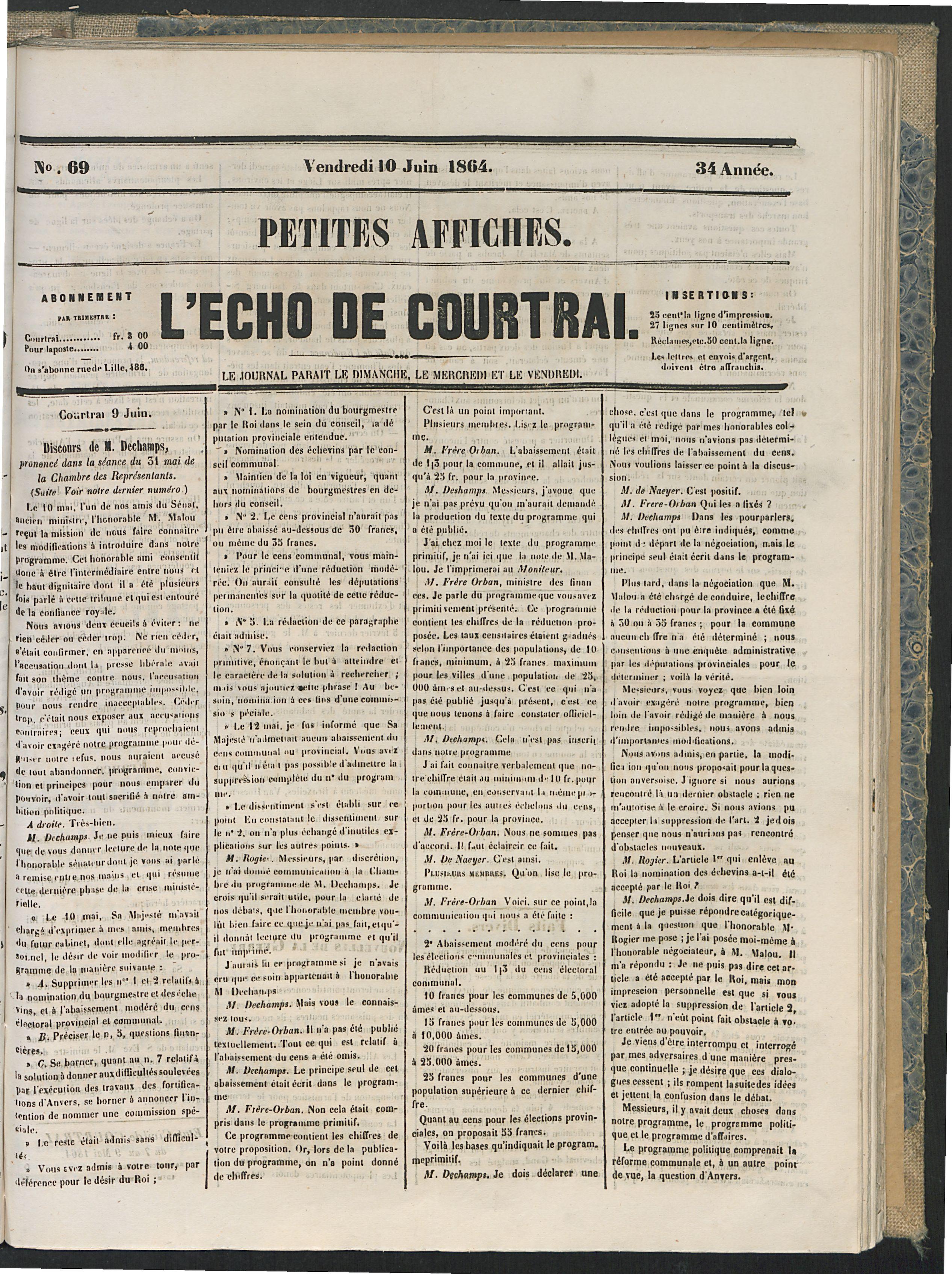 L'echo De Courtrai 1864-06-10 p1