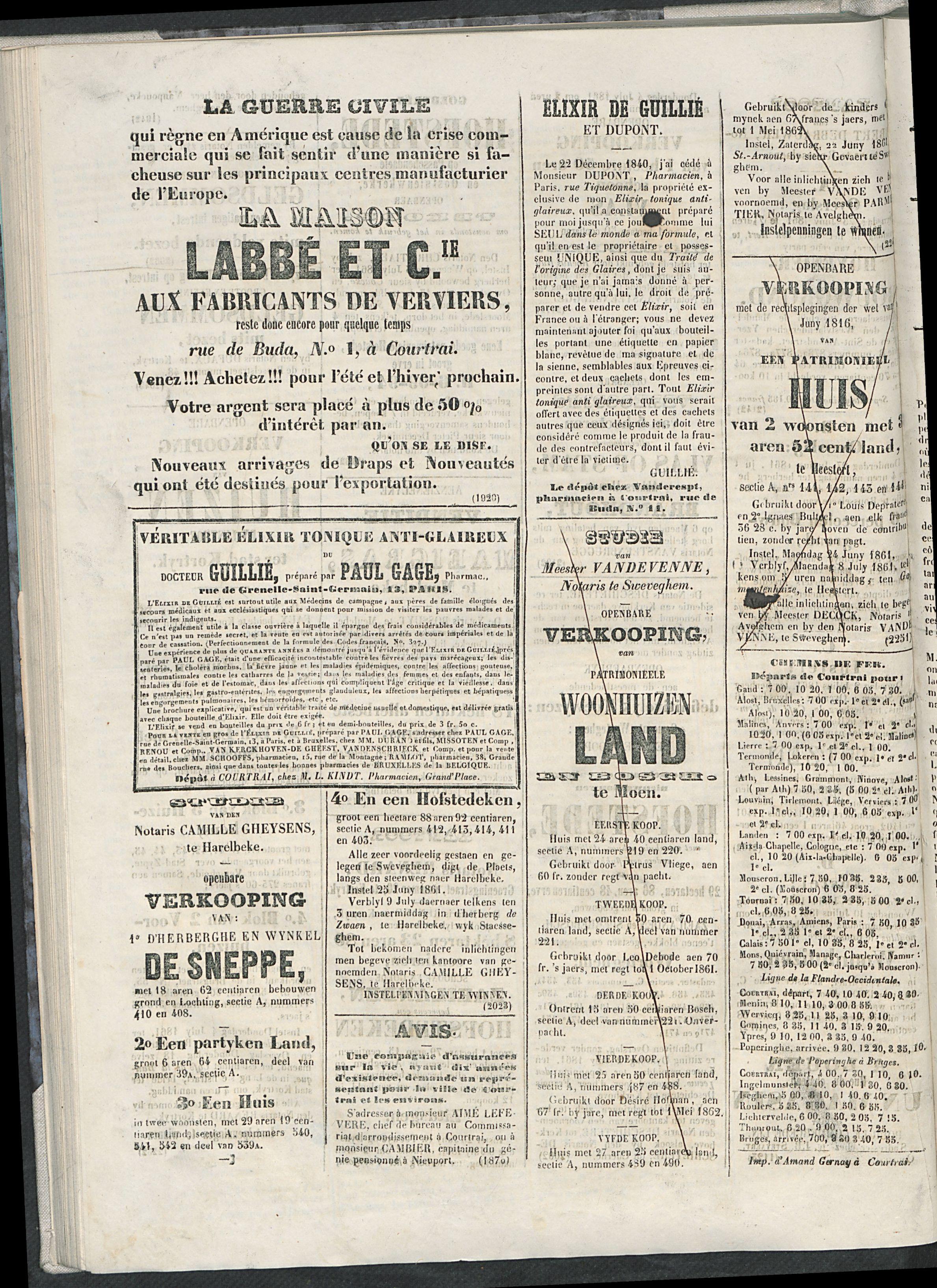 L'echo De Courtrai 1861-06-21 p4