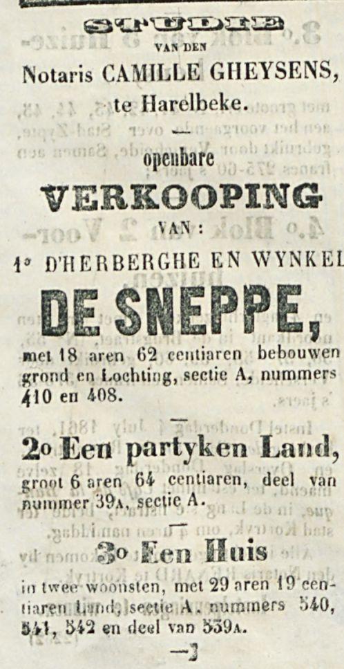 VERKOOPING DE SNEPPE