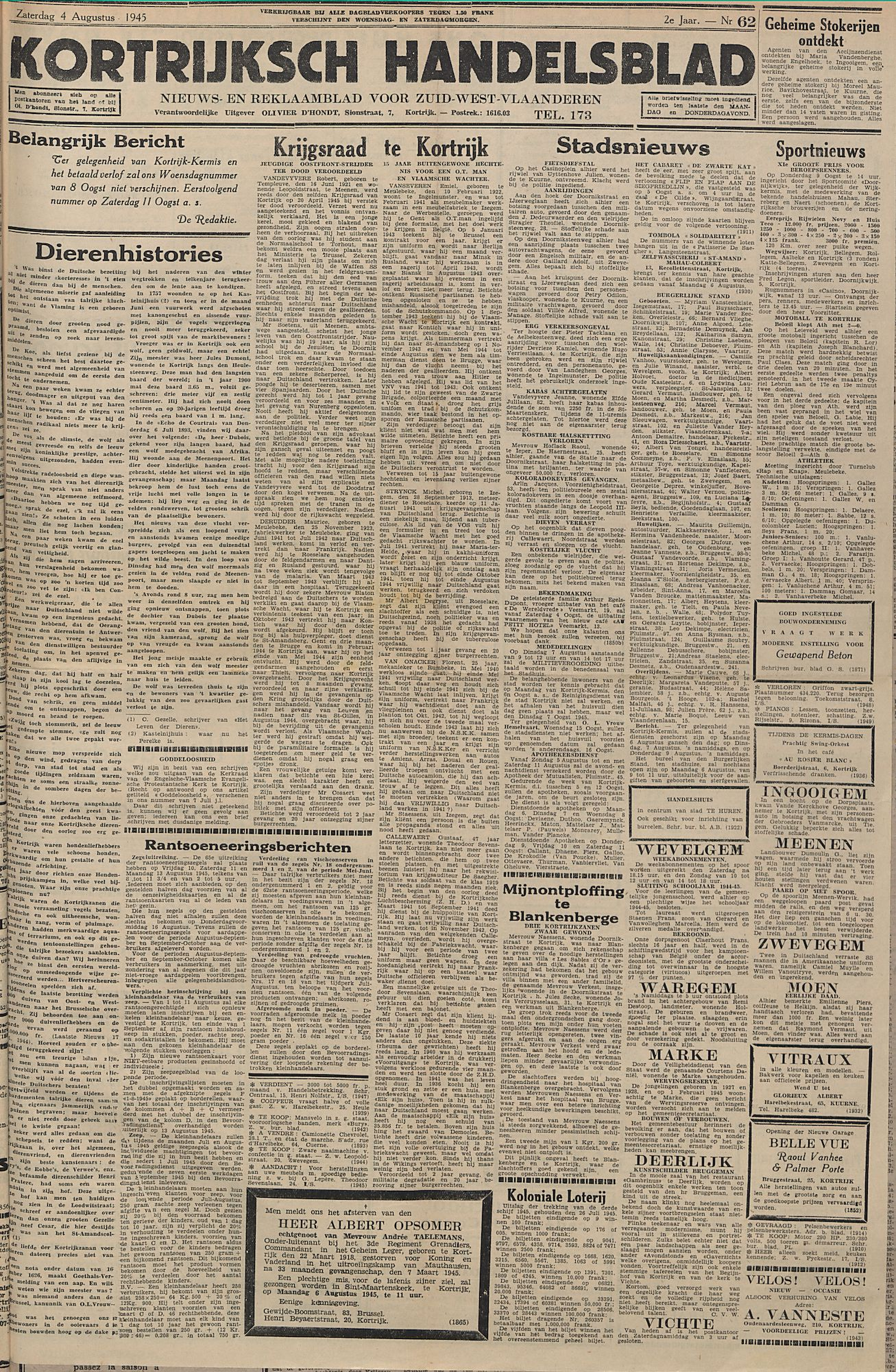 Kortrijksch Handelsblad 4 augustus 1945 Nr62 p1