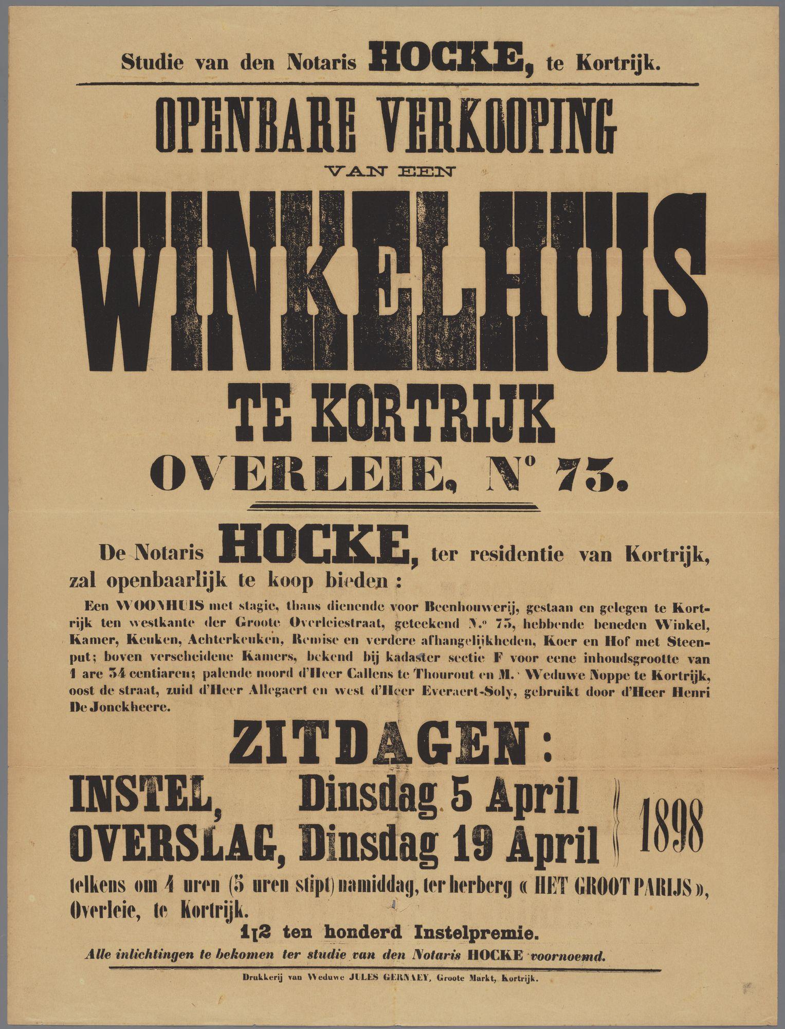 Verkoop van een handelspand 1898