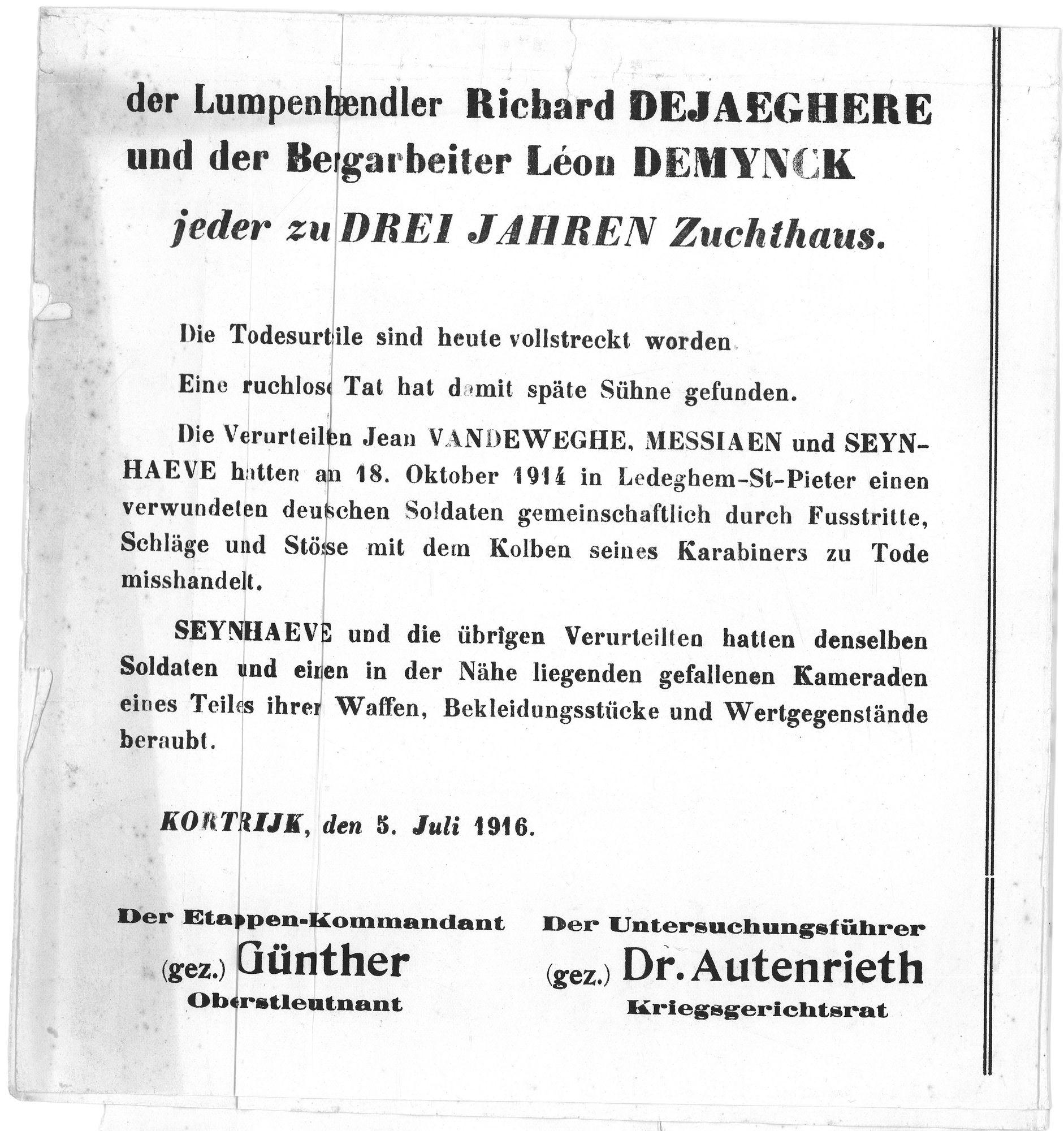 Veroordeling uit 1916