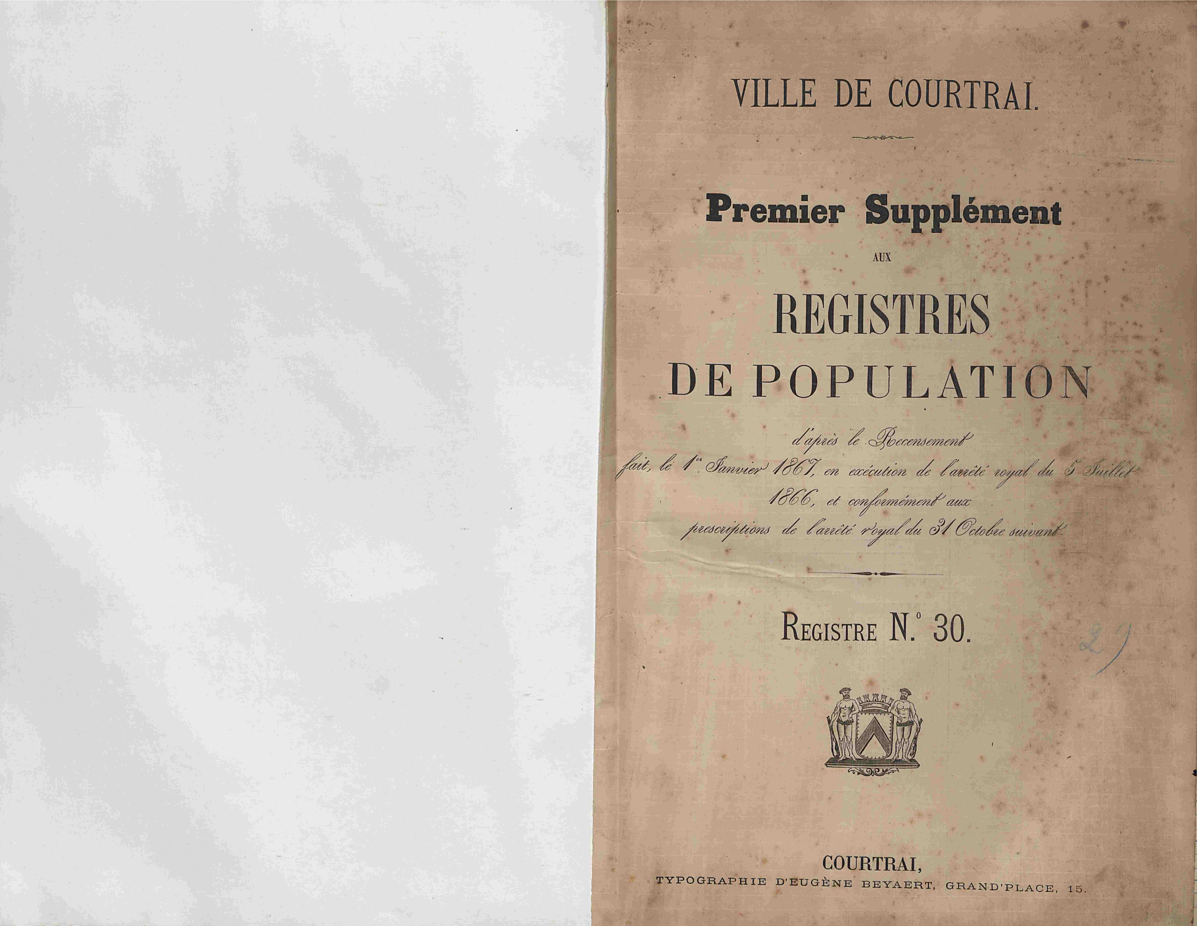 Bevolkingsregister Kortrijk 1866 boek 29