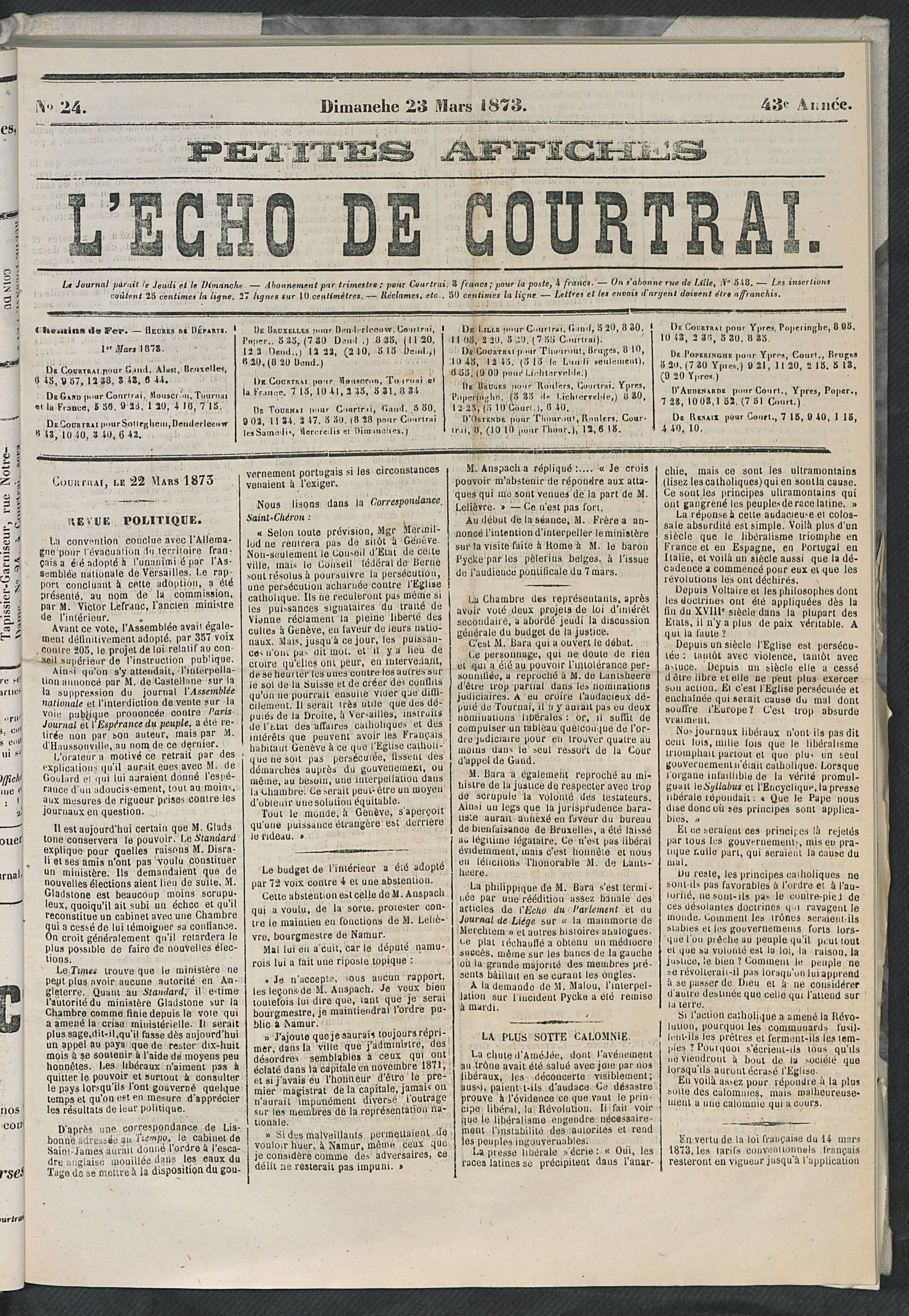 L'echo De Courtrai 1873-03-23 p1