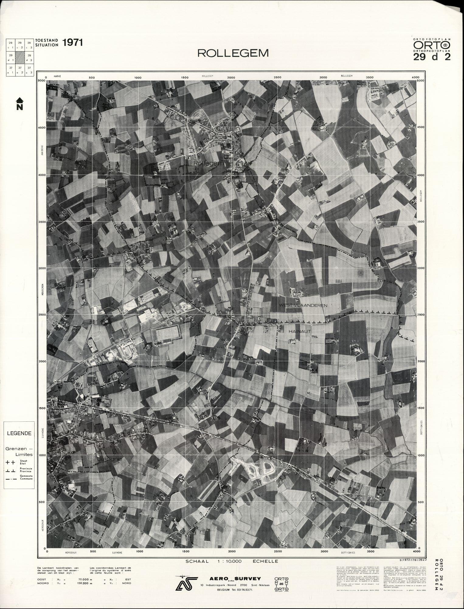 Luchtfoto Rollegem 1971