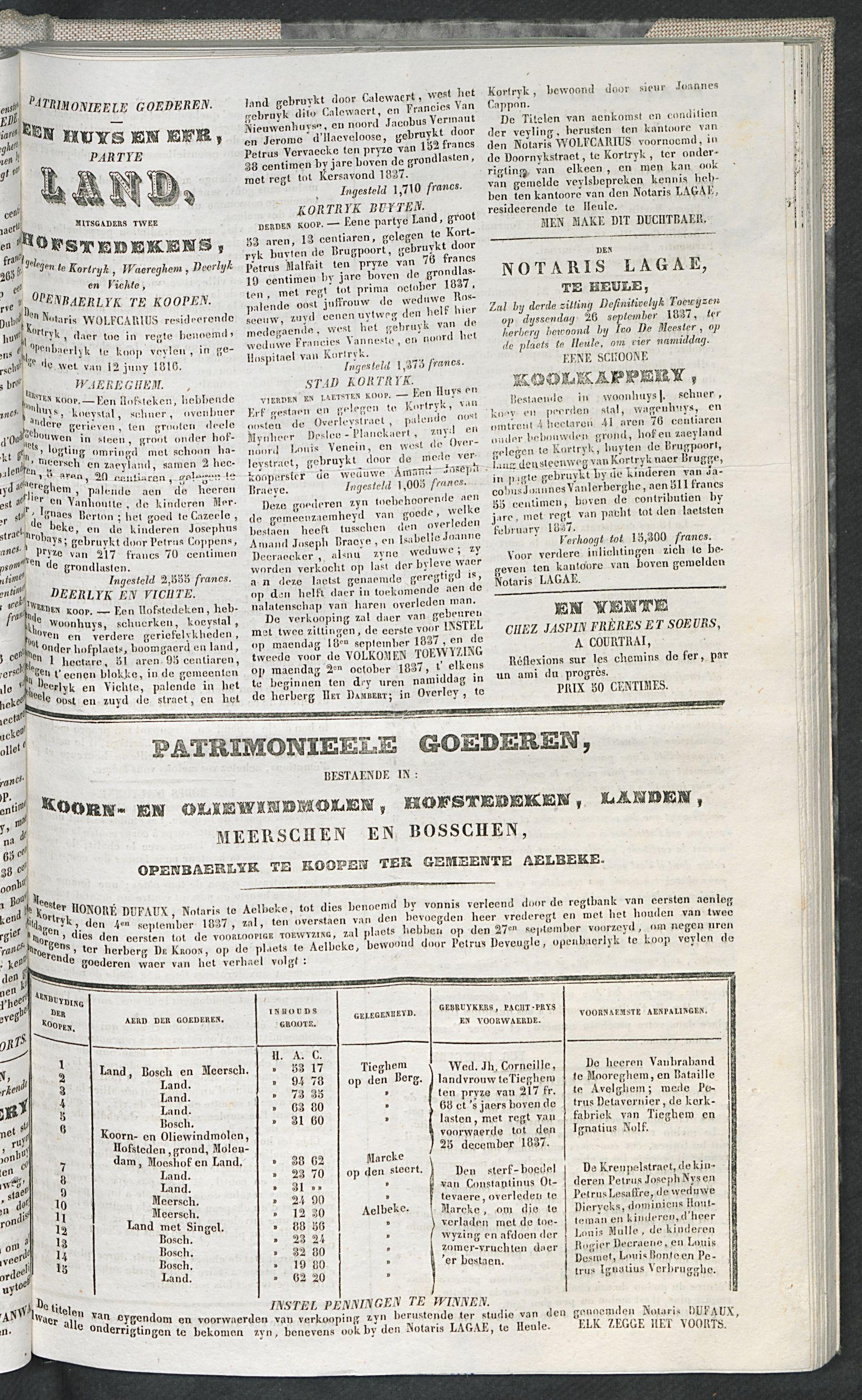 Petites Affiches De Courtrai 1837-09-24 p3