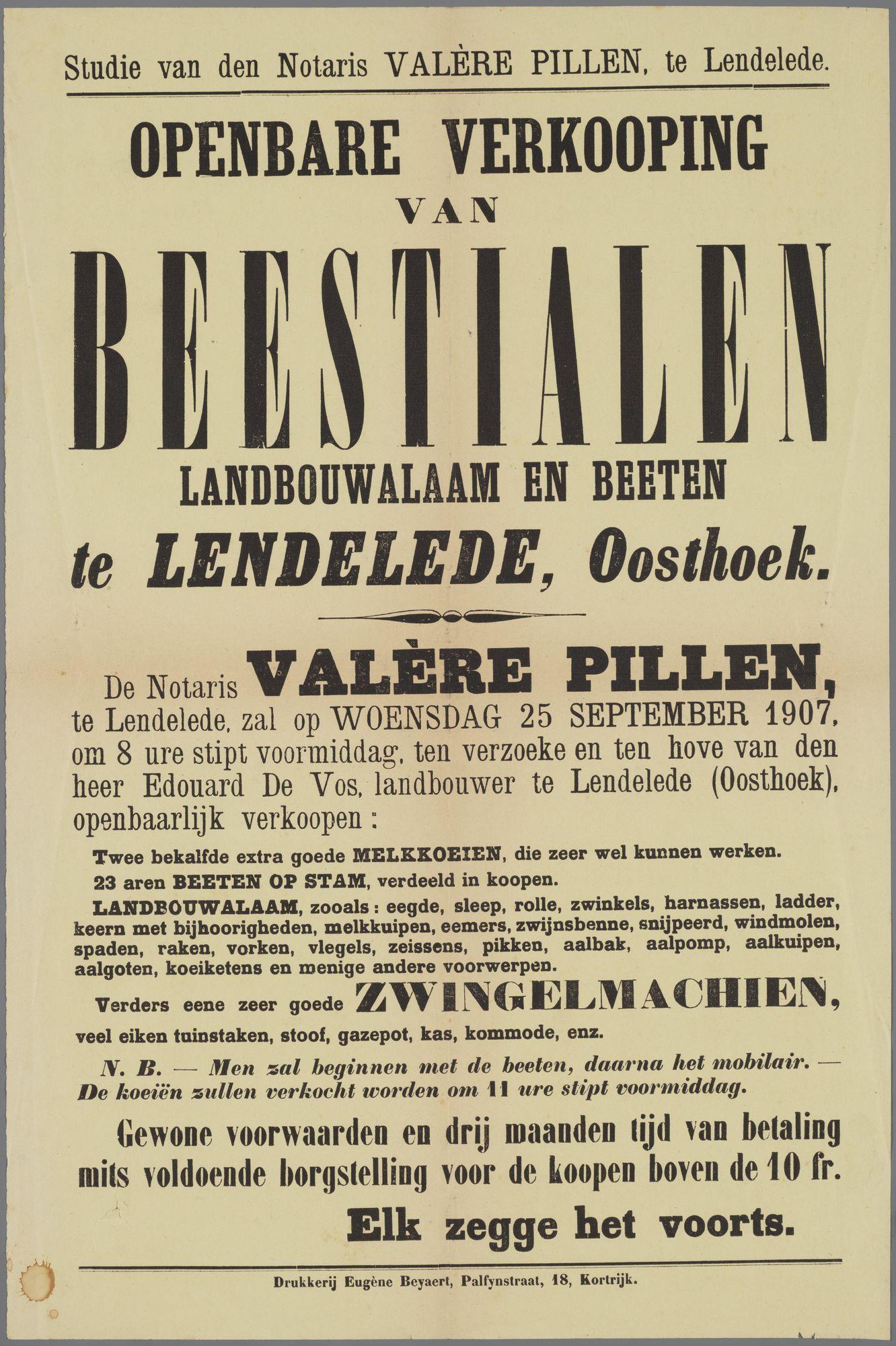 Verkoop van dieren en landbouwmateriaal te Lendelede 1907