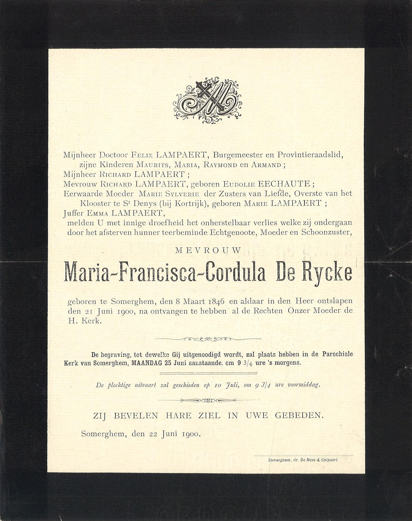 Maria-Francisca-Cordula De Rycke