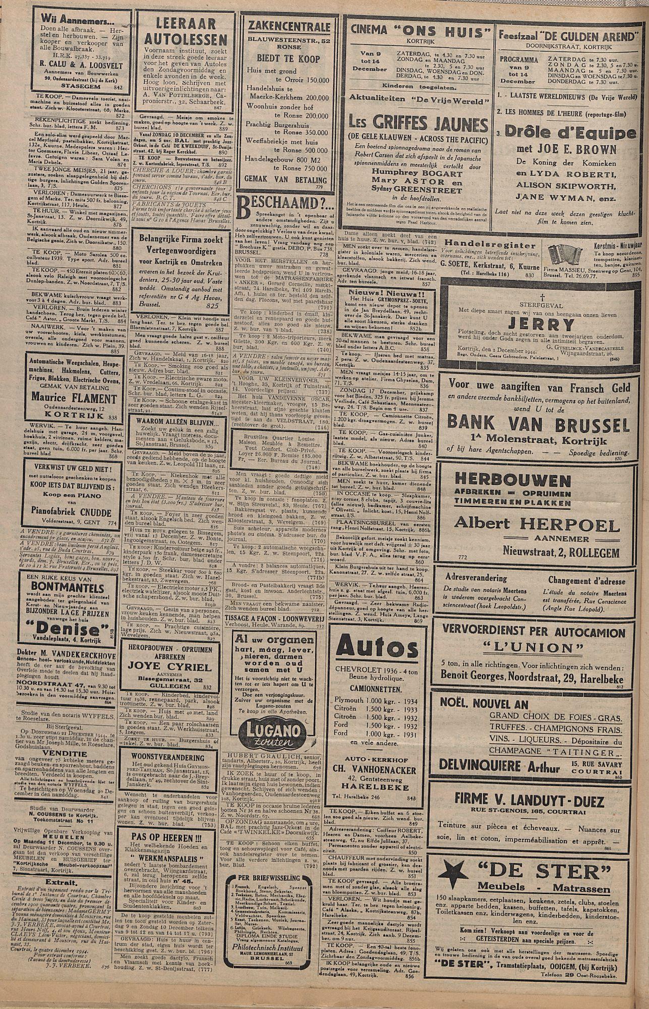 Kortrijksch Handelsblad 8 december 1944 Nr13 p2