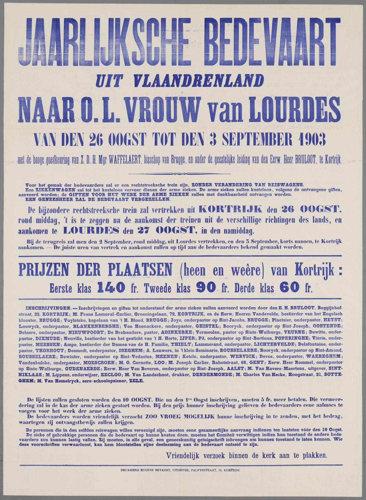 Bedevaart Lourdes 1903