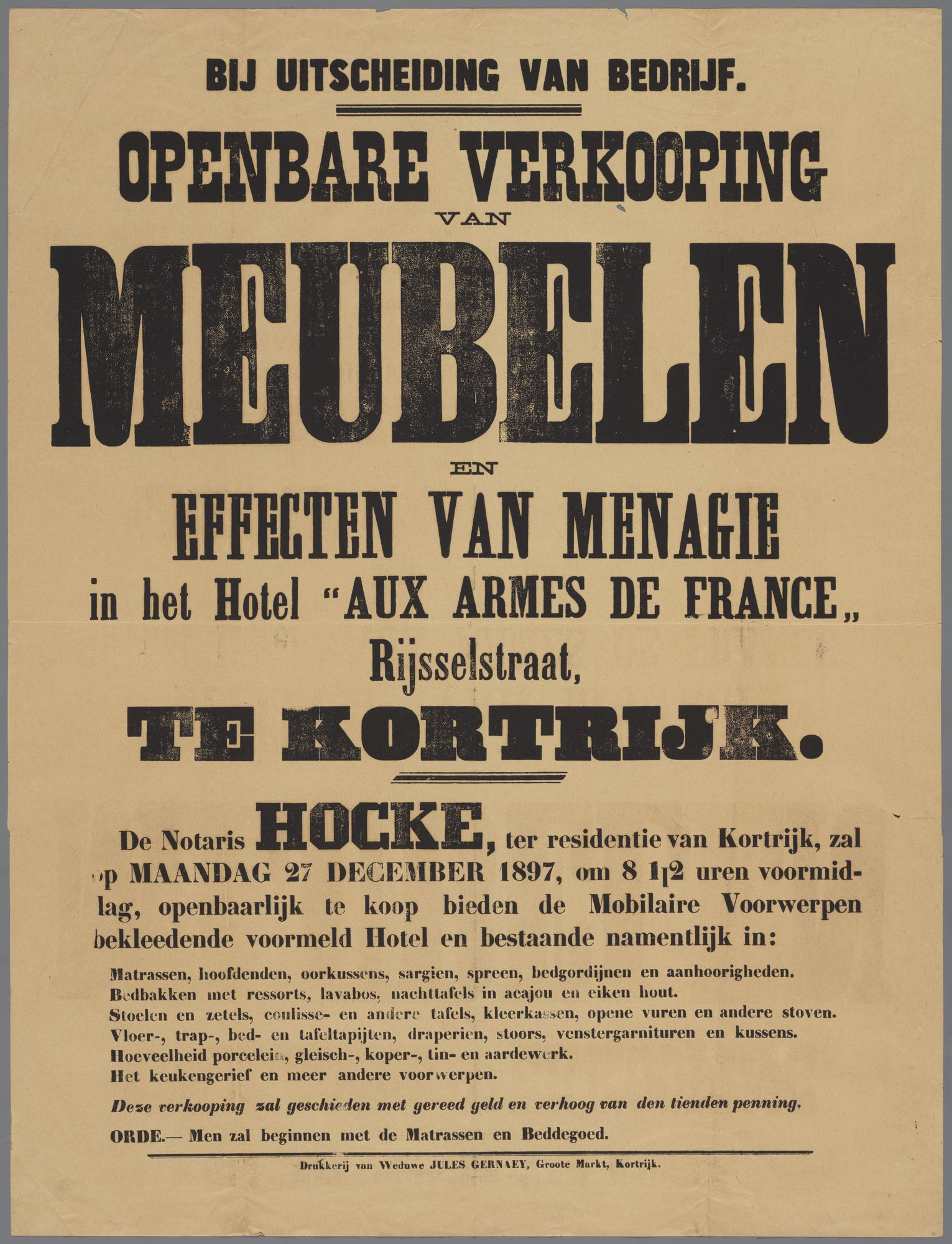 """Verkoop inboedel van hotel """"Aux armes de France"""" in de Rijselsestraat 1897"""