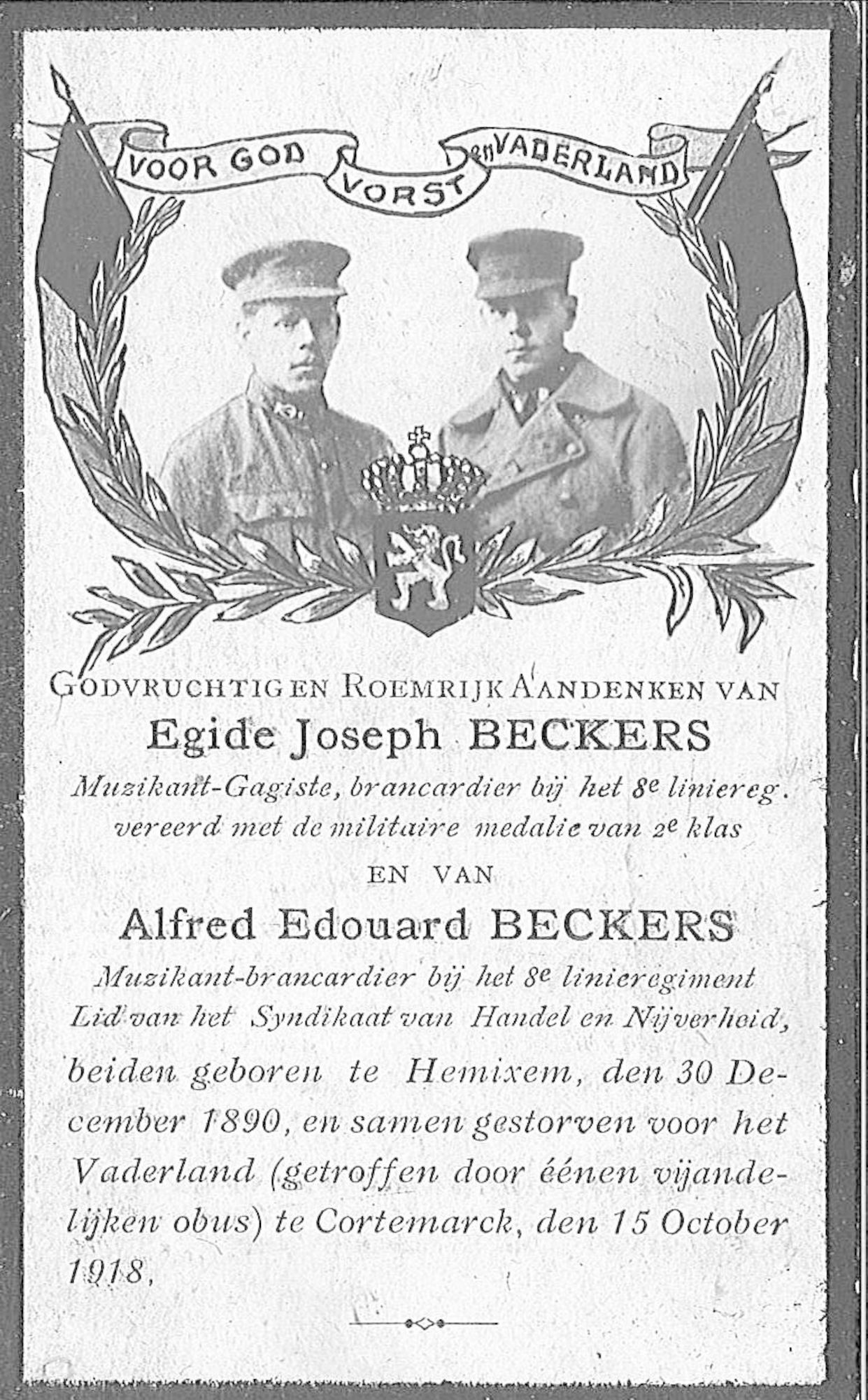 Egide-Joseph en Alfred-Edouard Beckers
