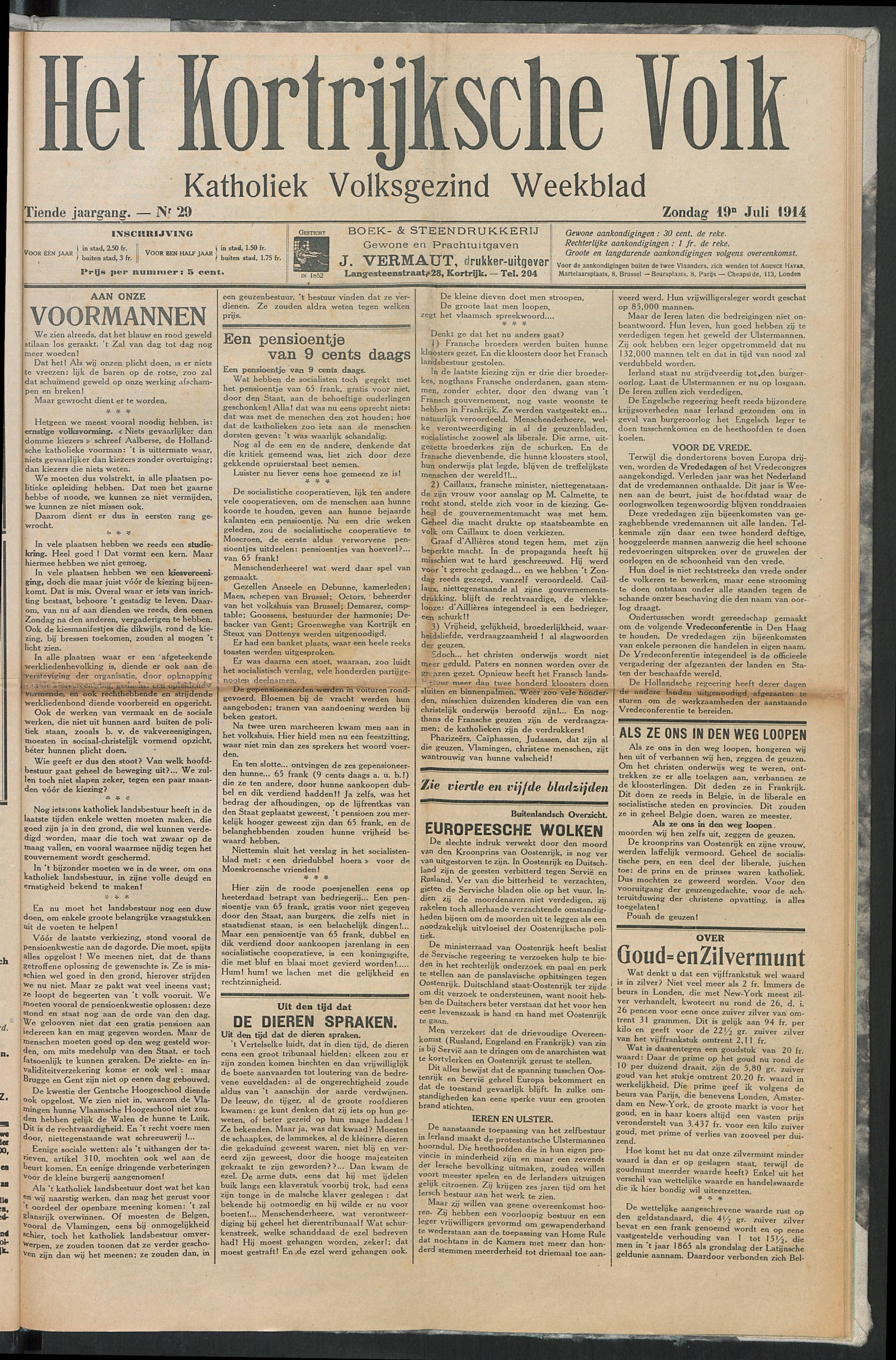 Het Kortrijksche Volk 1914-07-19 p1