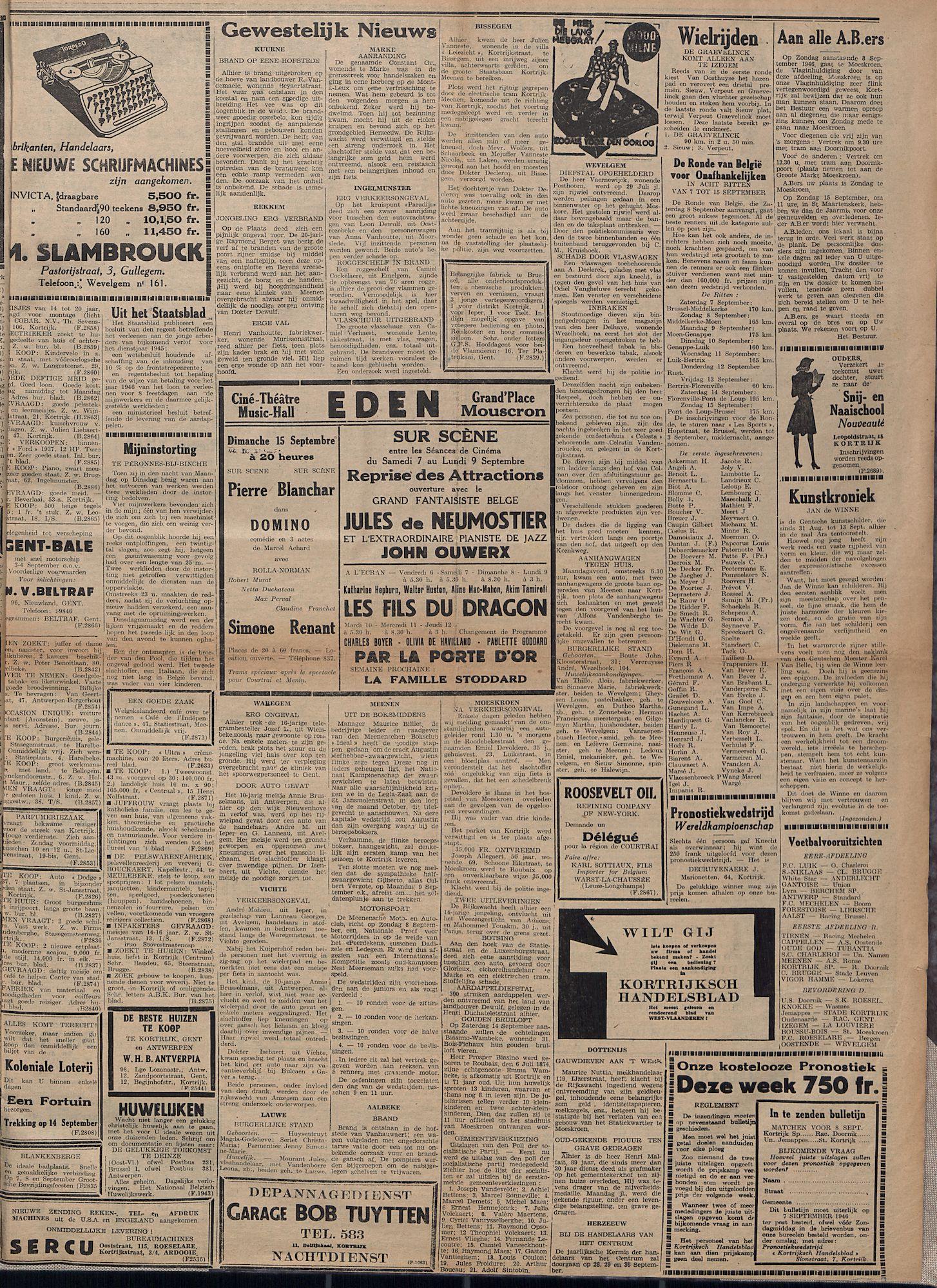Kortrijksch Handelsblad 6 september 1946 Nr71 p3