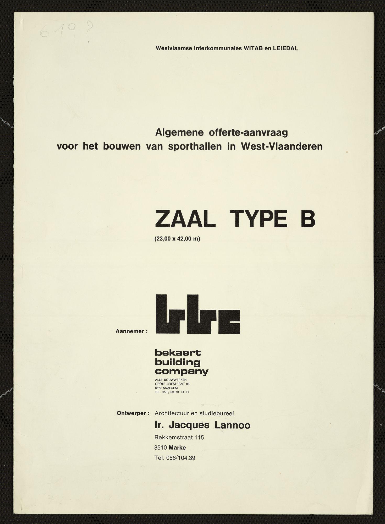 Bouwplannen voor de bouw van een sportzaal te Aalbeke, 1974-1976