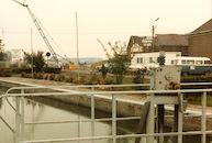 Bouw van de nieuwe sluis op het Kanaal Bossuit-Kortrijk in de Deerlijkstraat te Zwevegem 1985