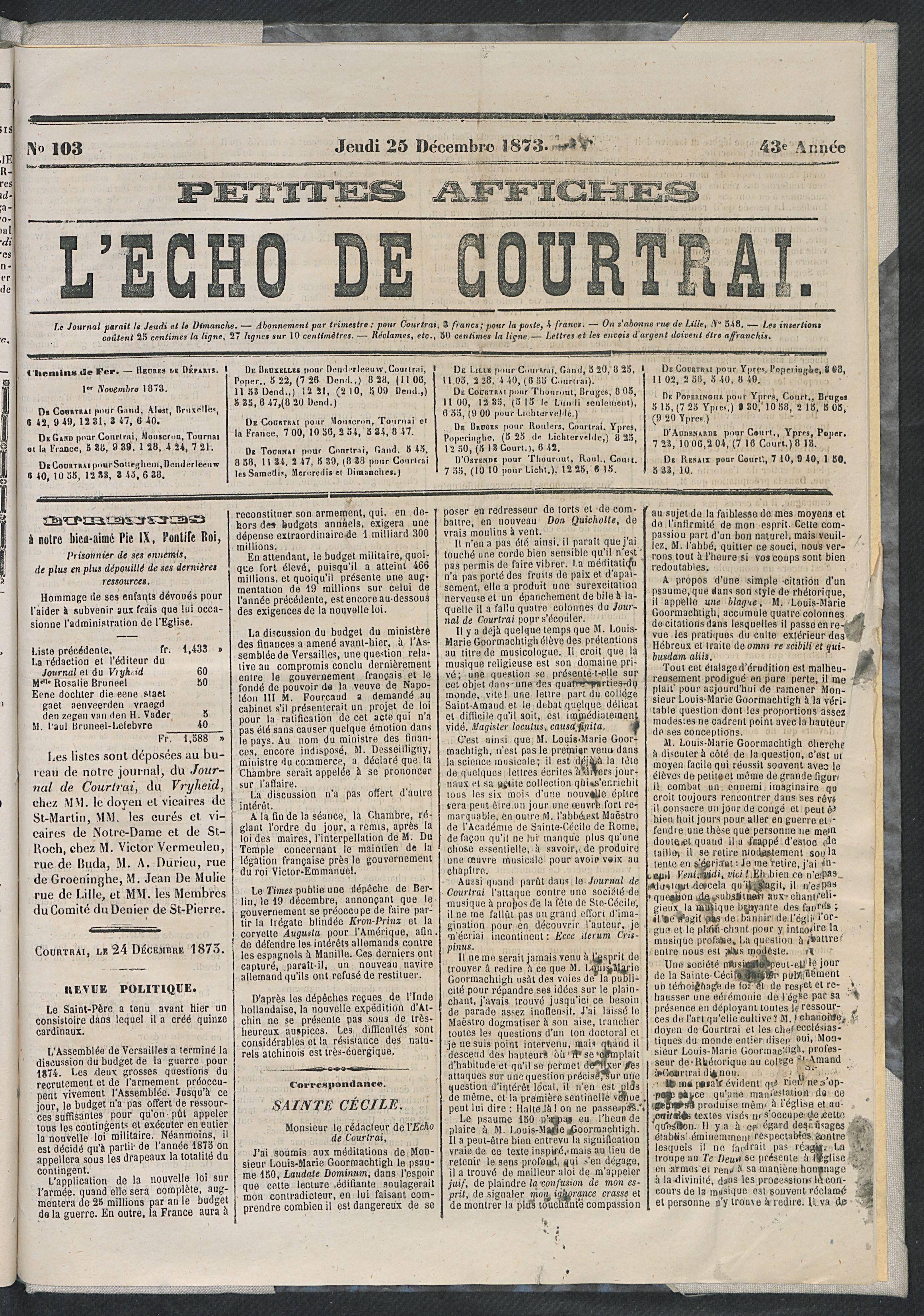 L'echo De Courtrai 1873-12-25 p1