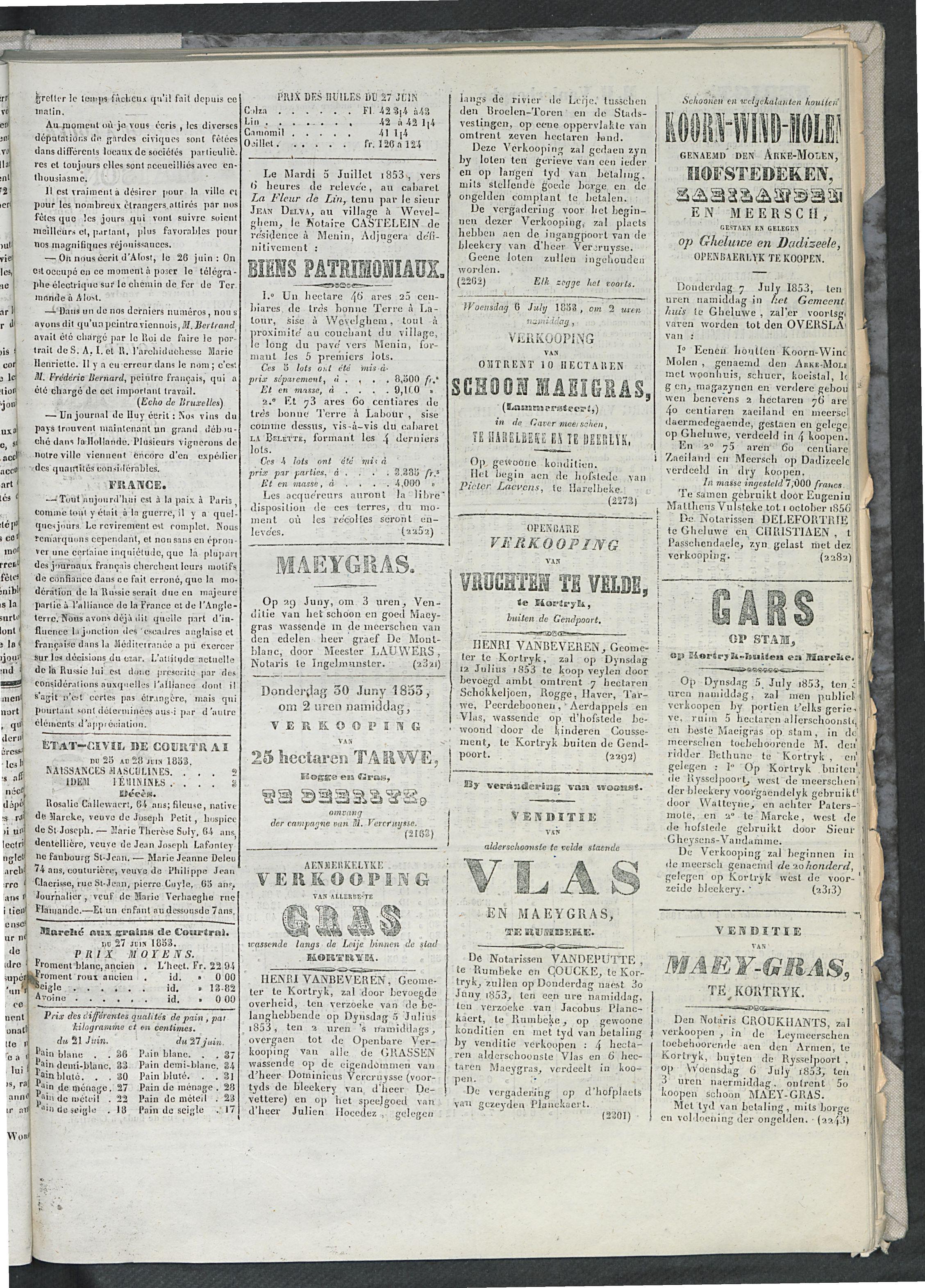 L'echo De Courtrai 1853-06-29 p3