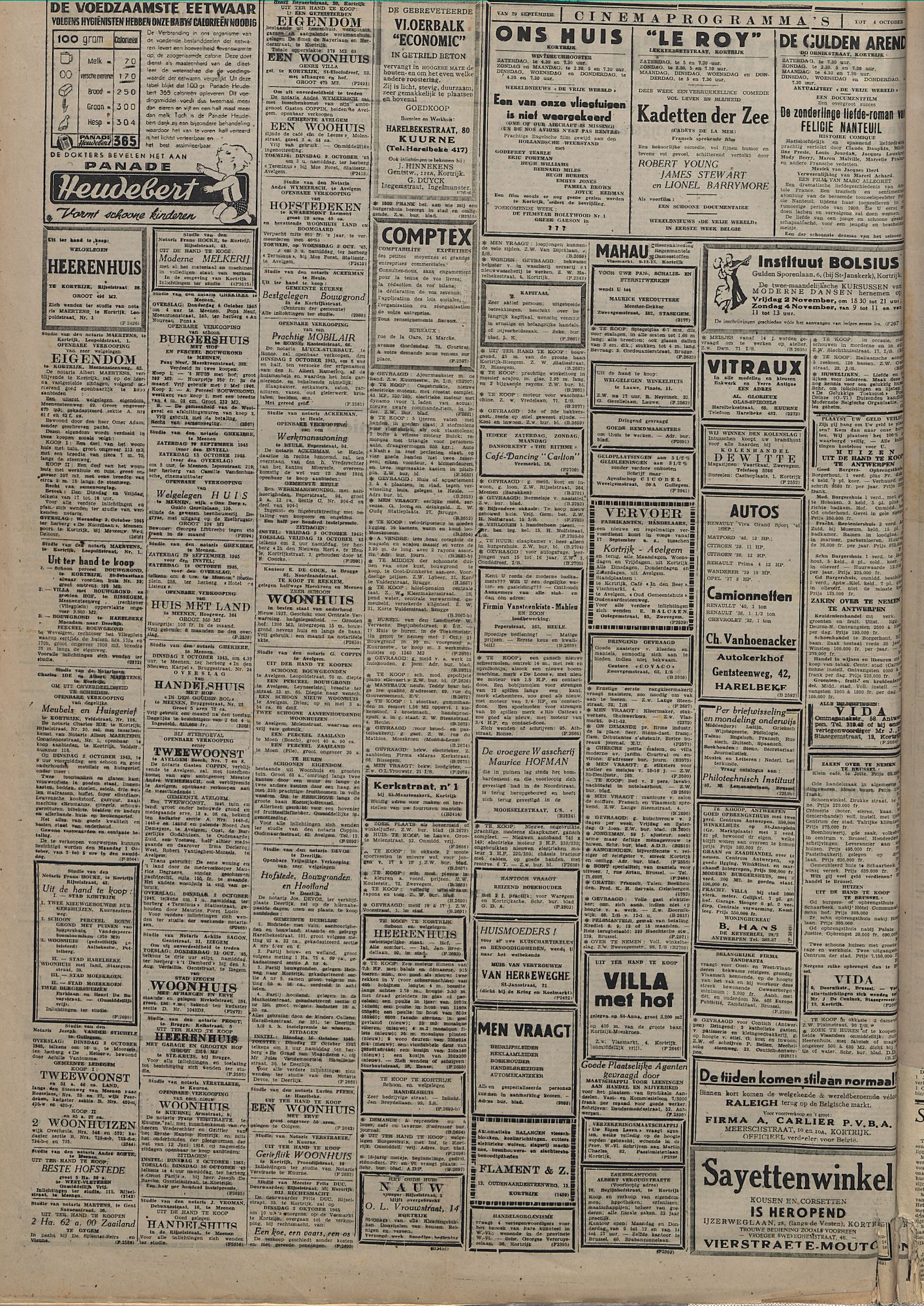 Kortrijksch Handelsblad 29 september 1945 Nr78 p2