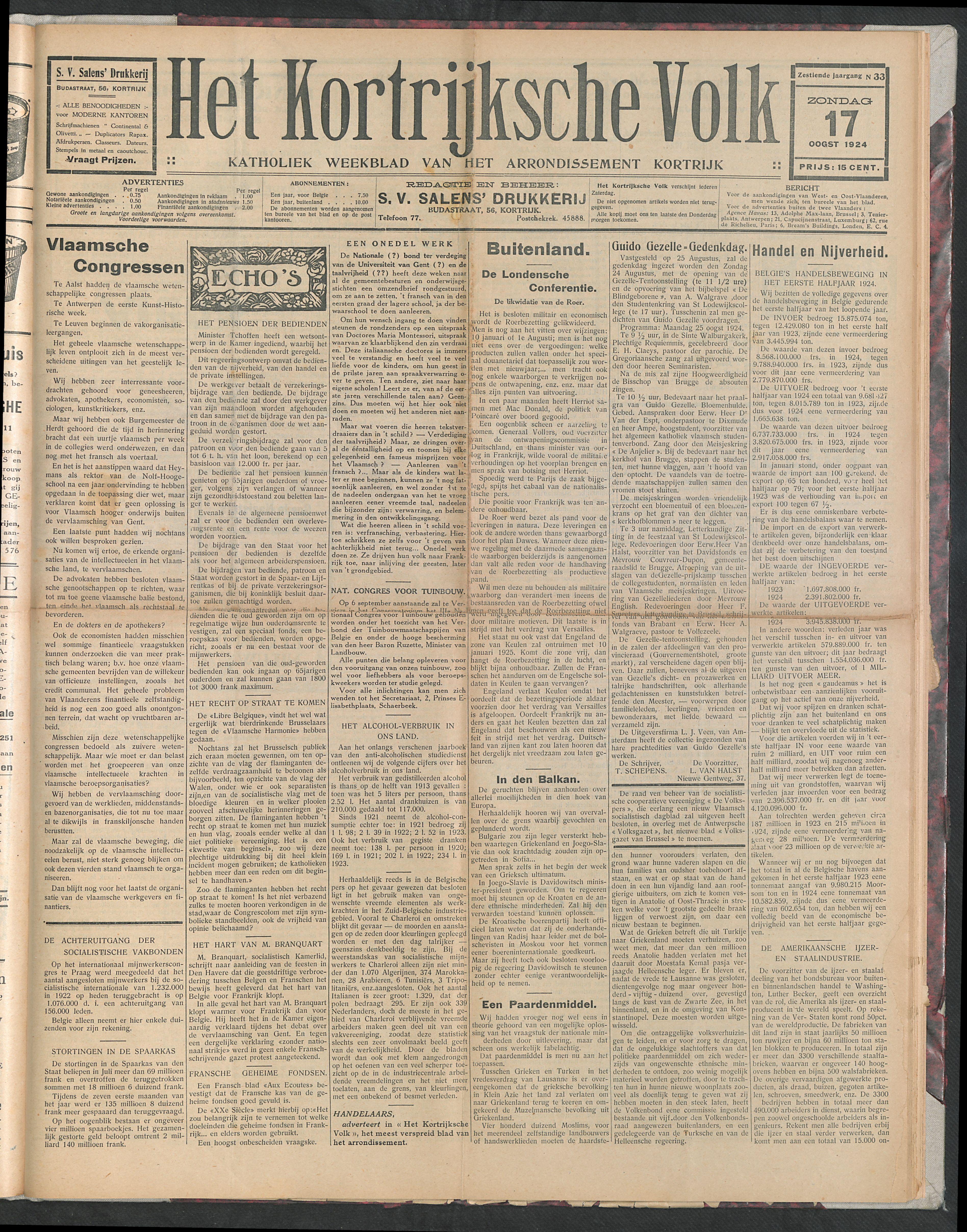 Het Kortrijksche Volk 1924-08-17 p1