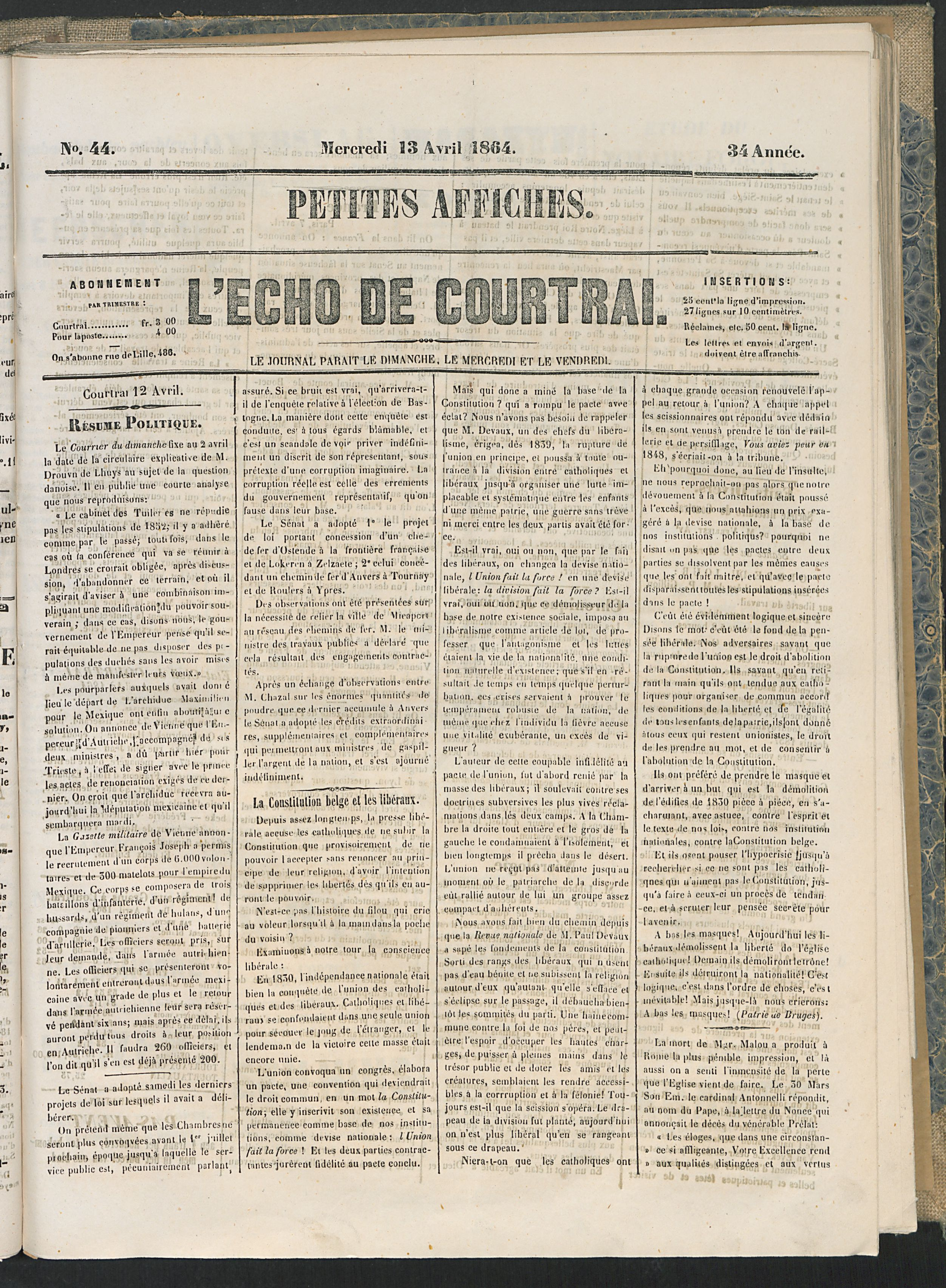 L'echo De Courtrai 1864-04-13 p1
