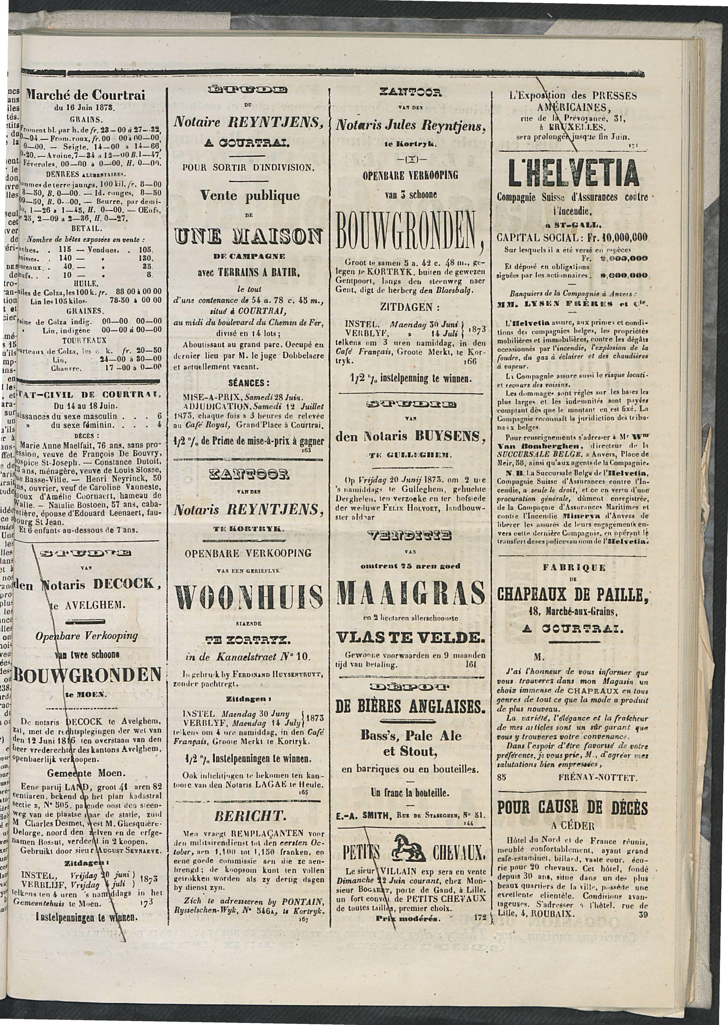 L'echo De Courtrai 1873-06-19 p3