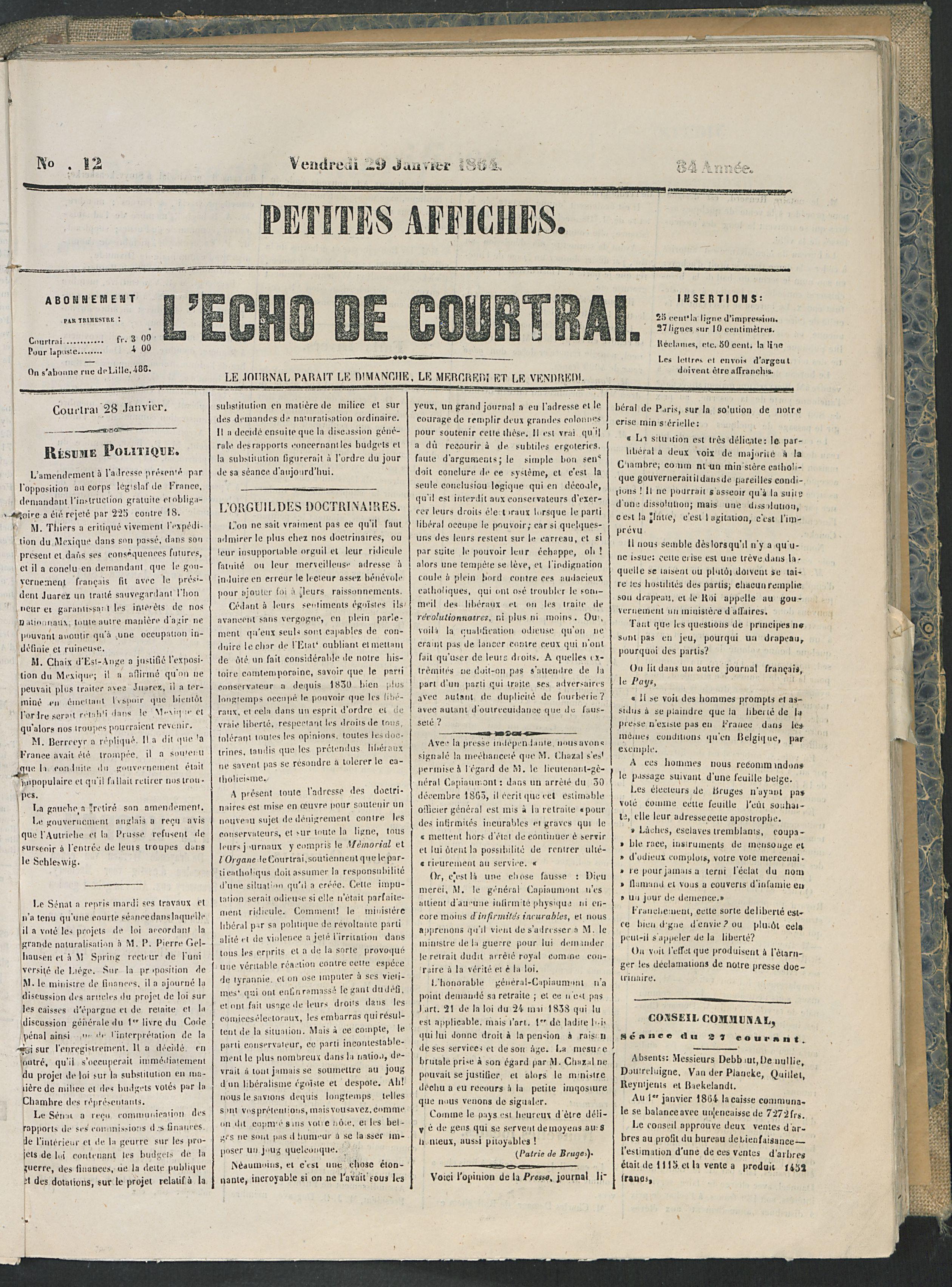 L'echo De Courtrai 1864-01-29 p1