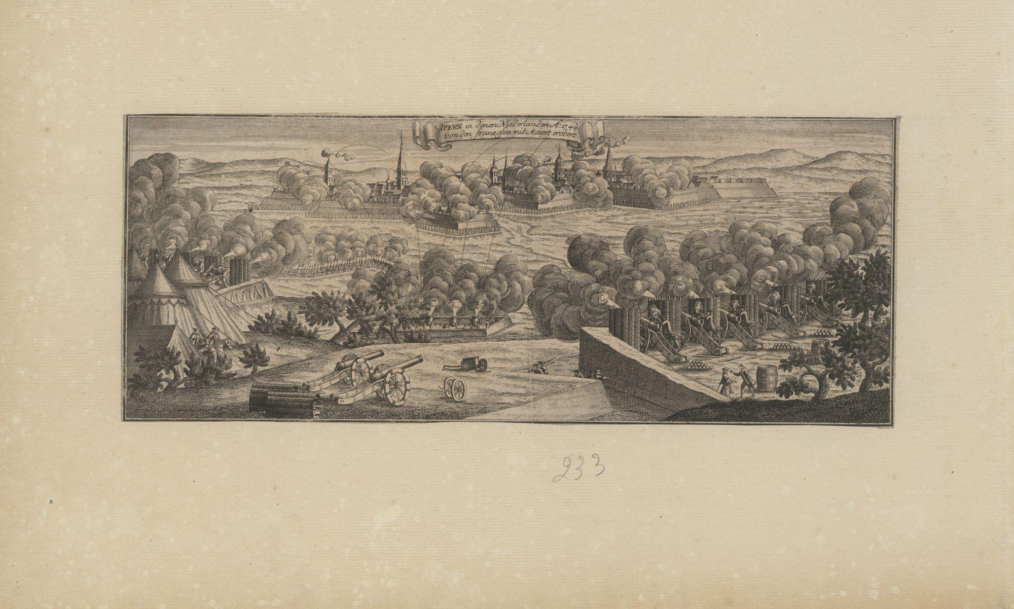 Westflandrica - Ieper, zicht op de stad tijdens de belegering van 1744