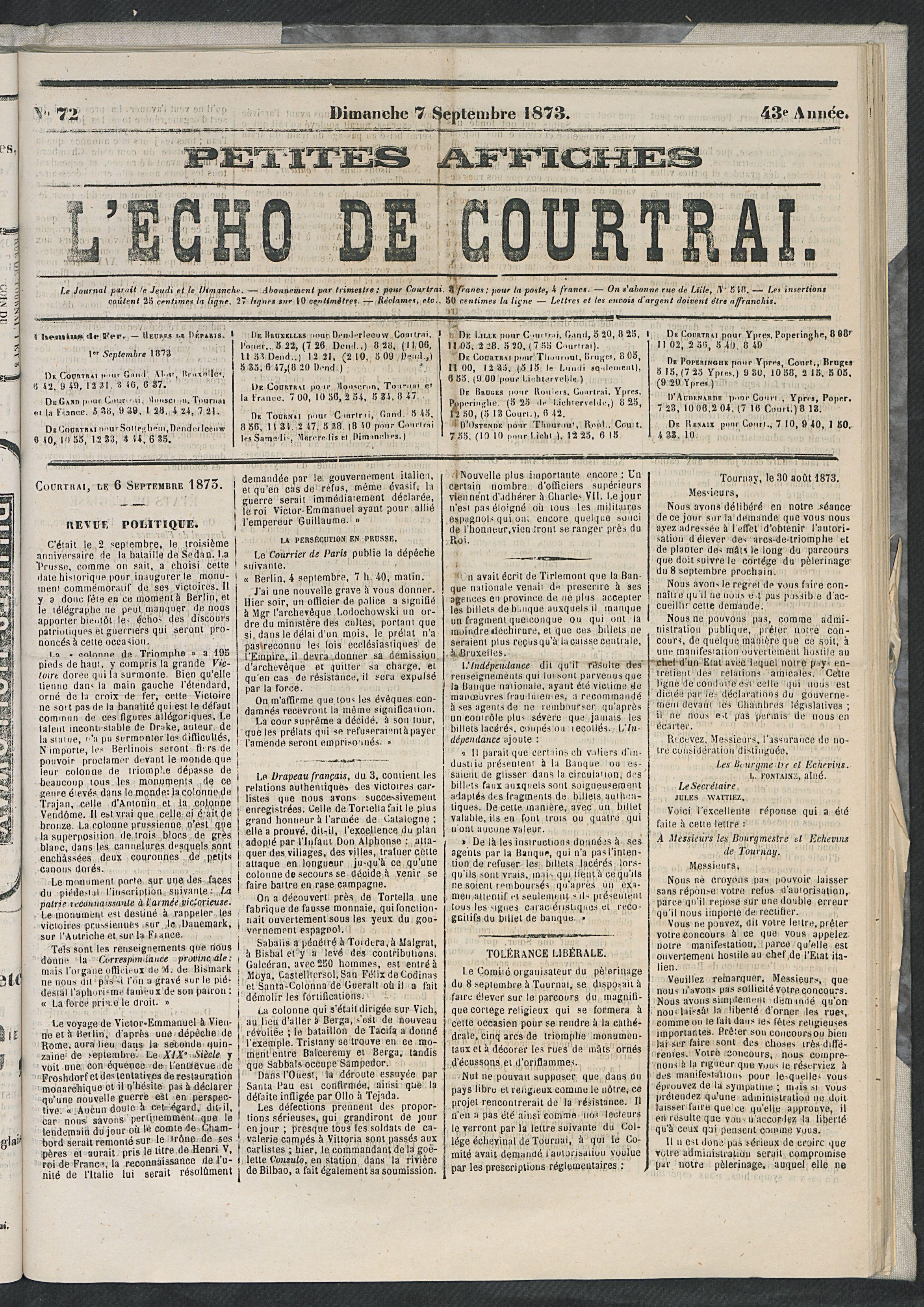 L'echo De Courtrai 1873-09-07 p1