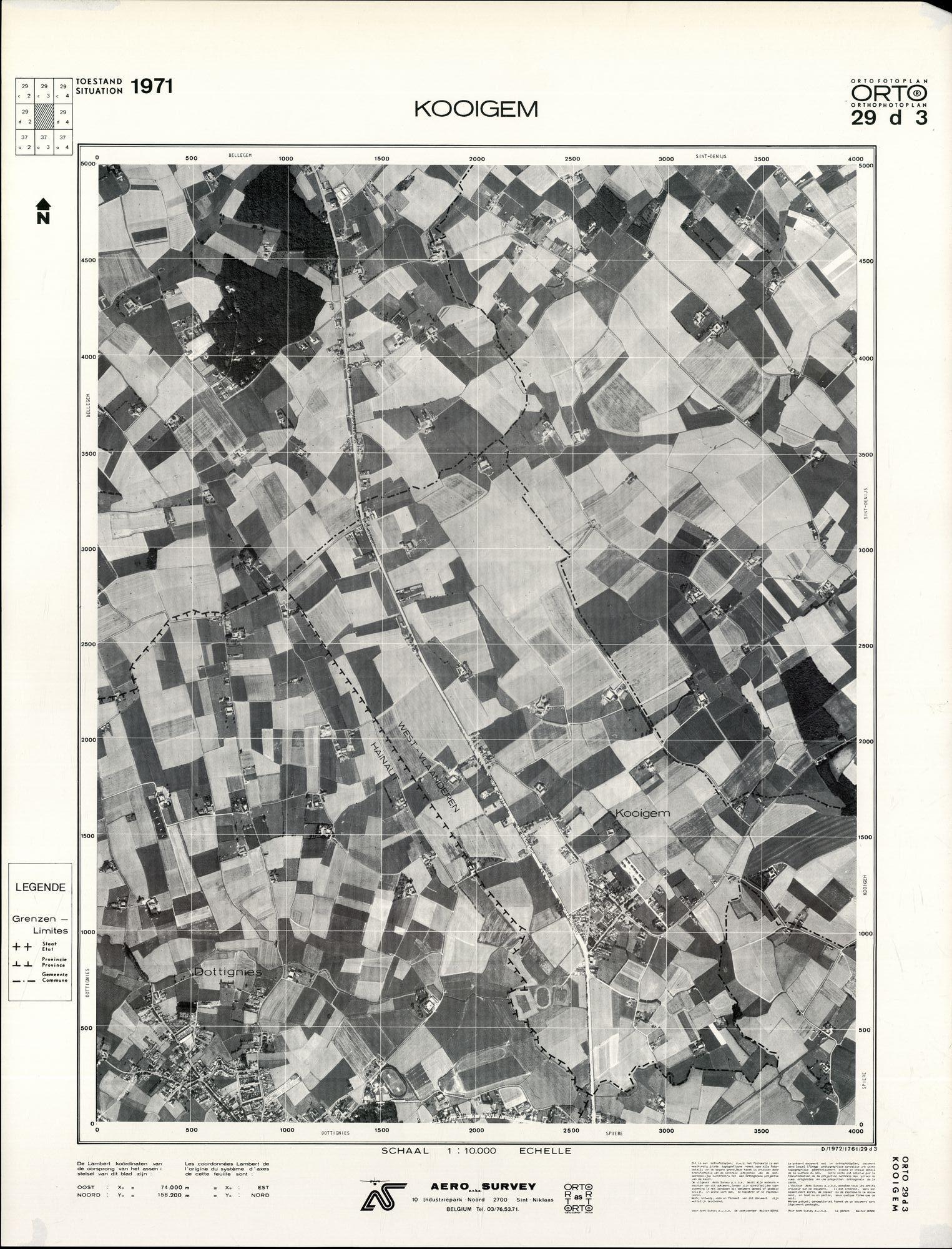 Luchtfoto Kooigem 1971