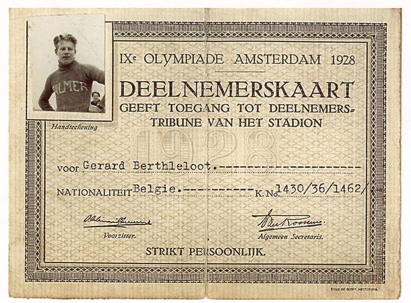 Deelnemerskaart Olympische Spelen Gerard Bertheloot