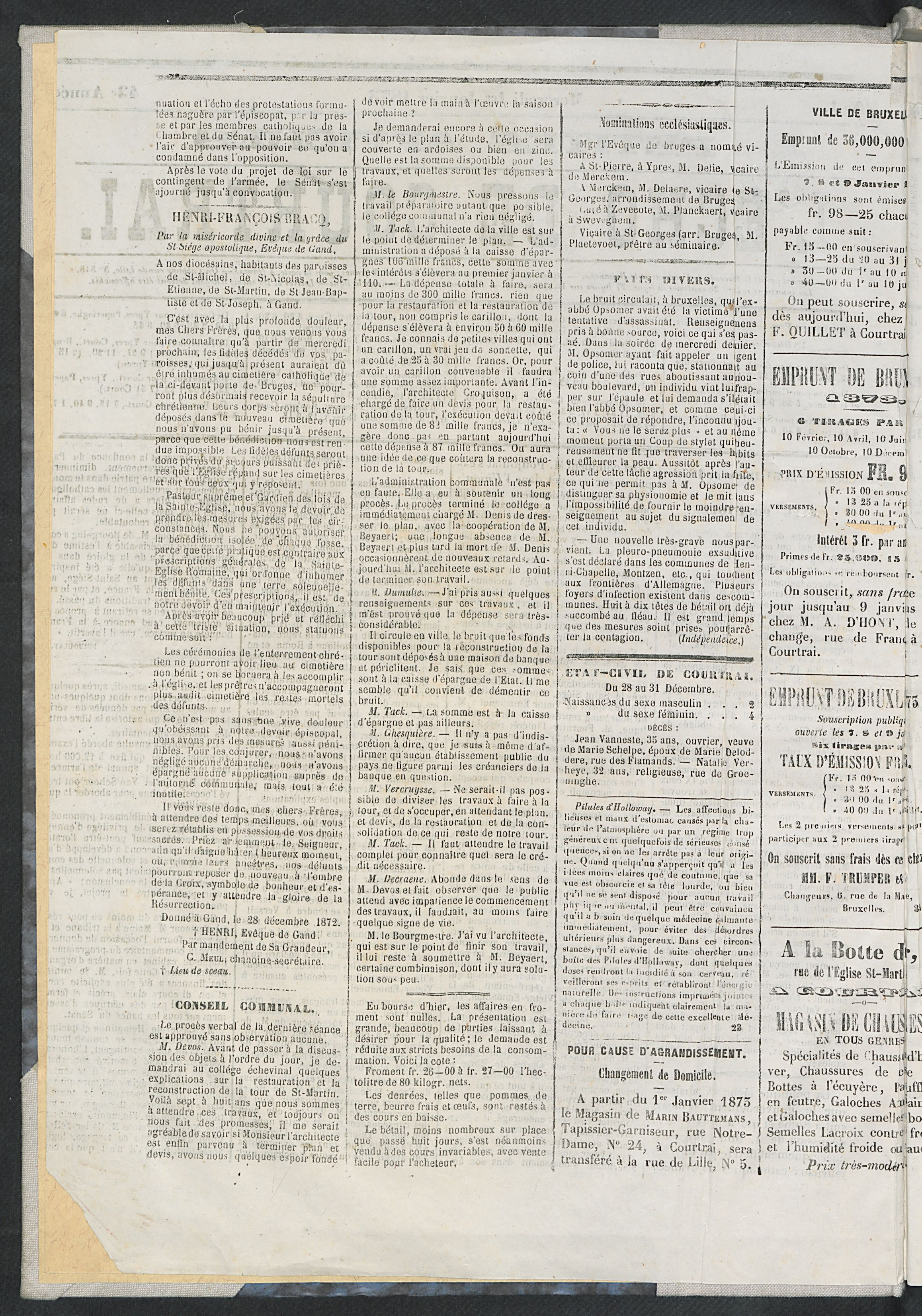 L'echo De Courtrai 1873-01-01 p2
