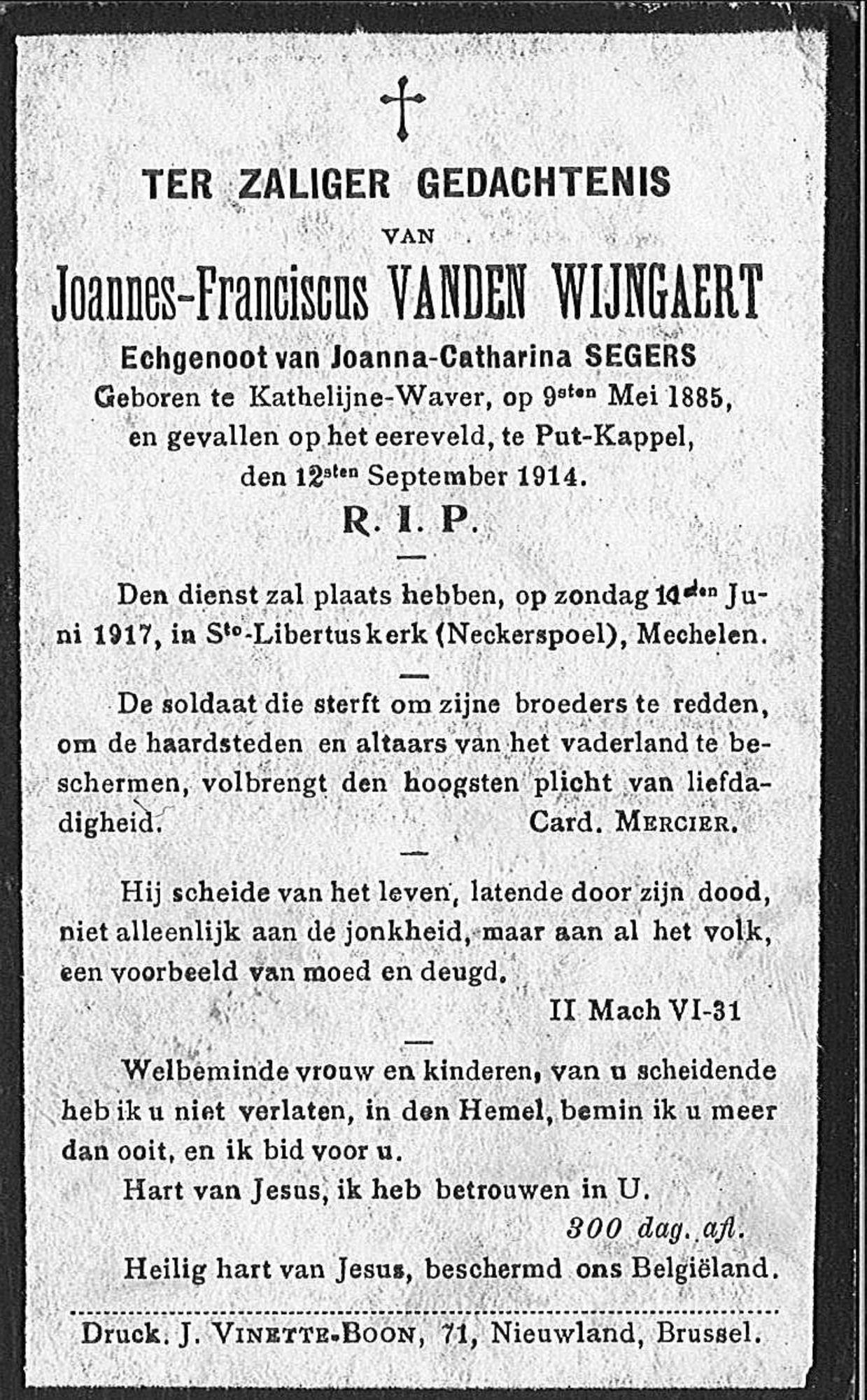 Joannes-Franciscus Vanden Wijngaert