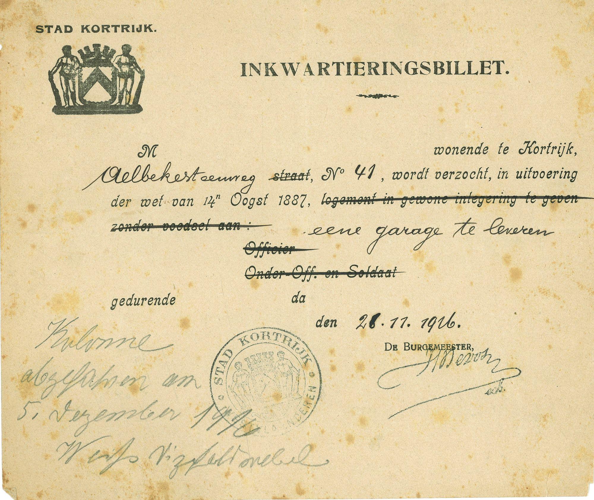 Opeisingsbevel 1916