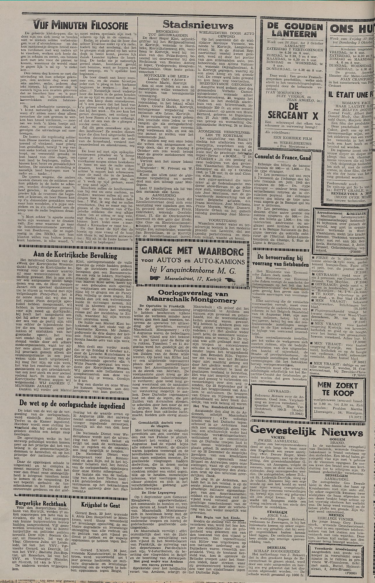 Kortrijksch Handelsblad 1 oktober 1946 Nr79 p2