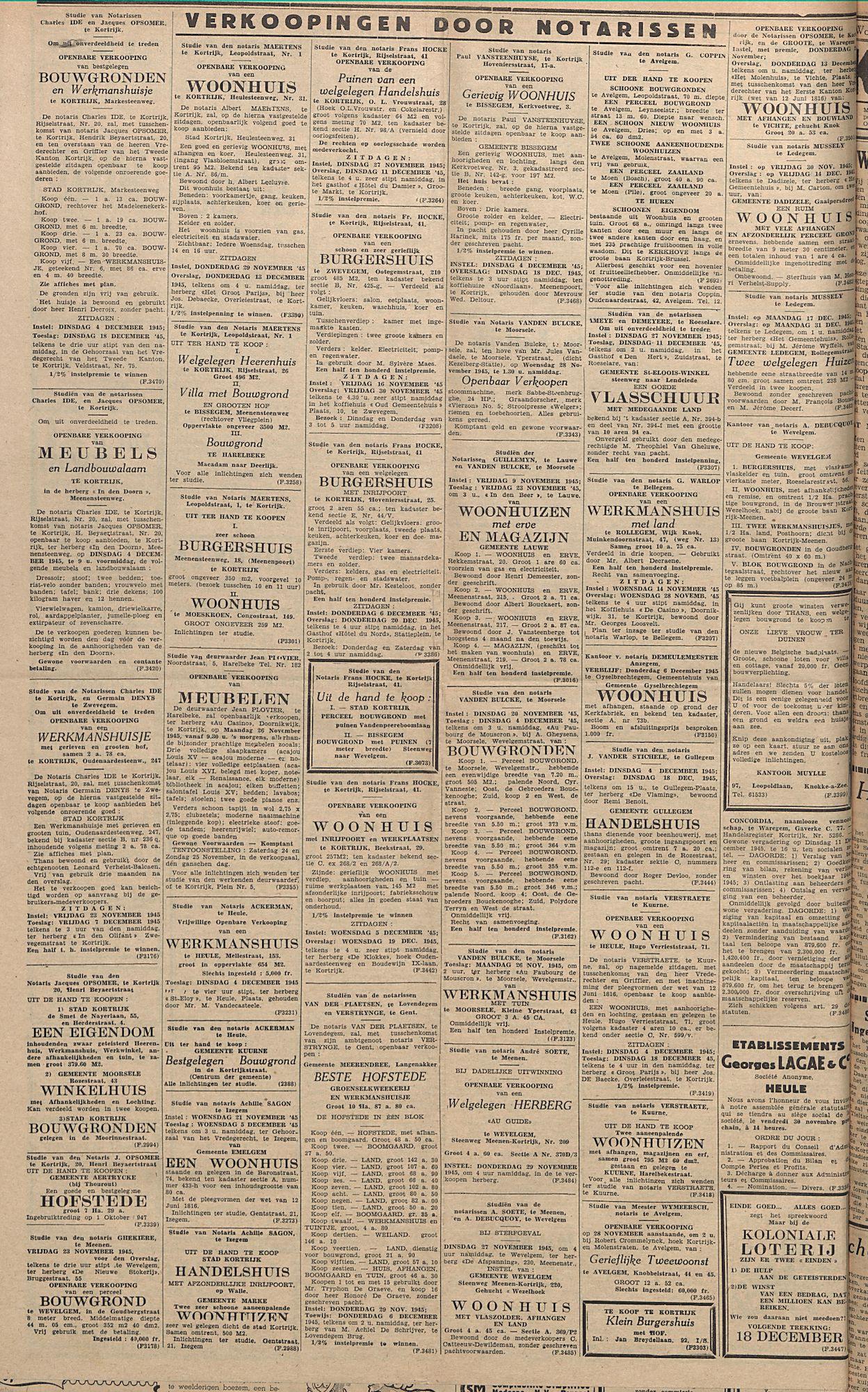 Kortrijksch Handelsblad 23 november 1945 Nr94 p4