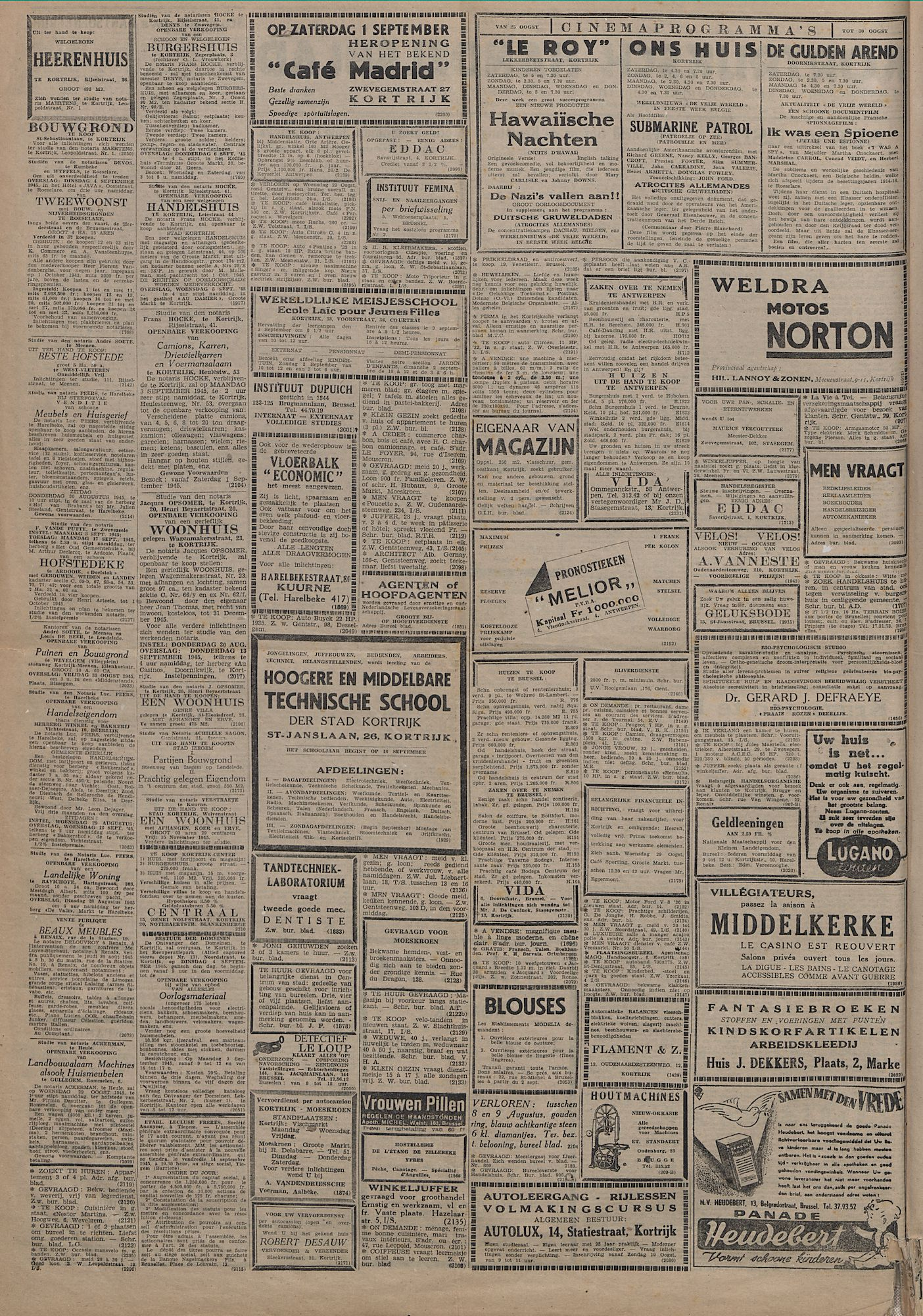 Kortrijksch Handelsblad 25 augustus 1945 Nr68 p2