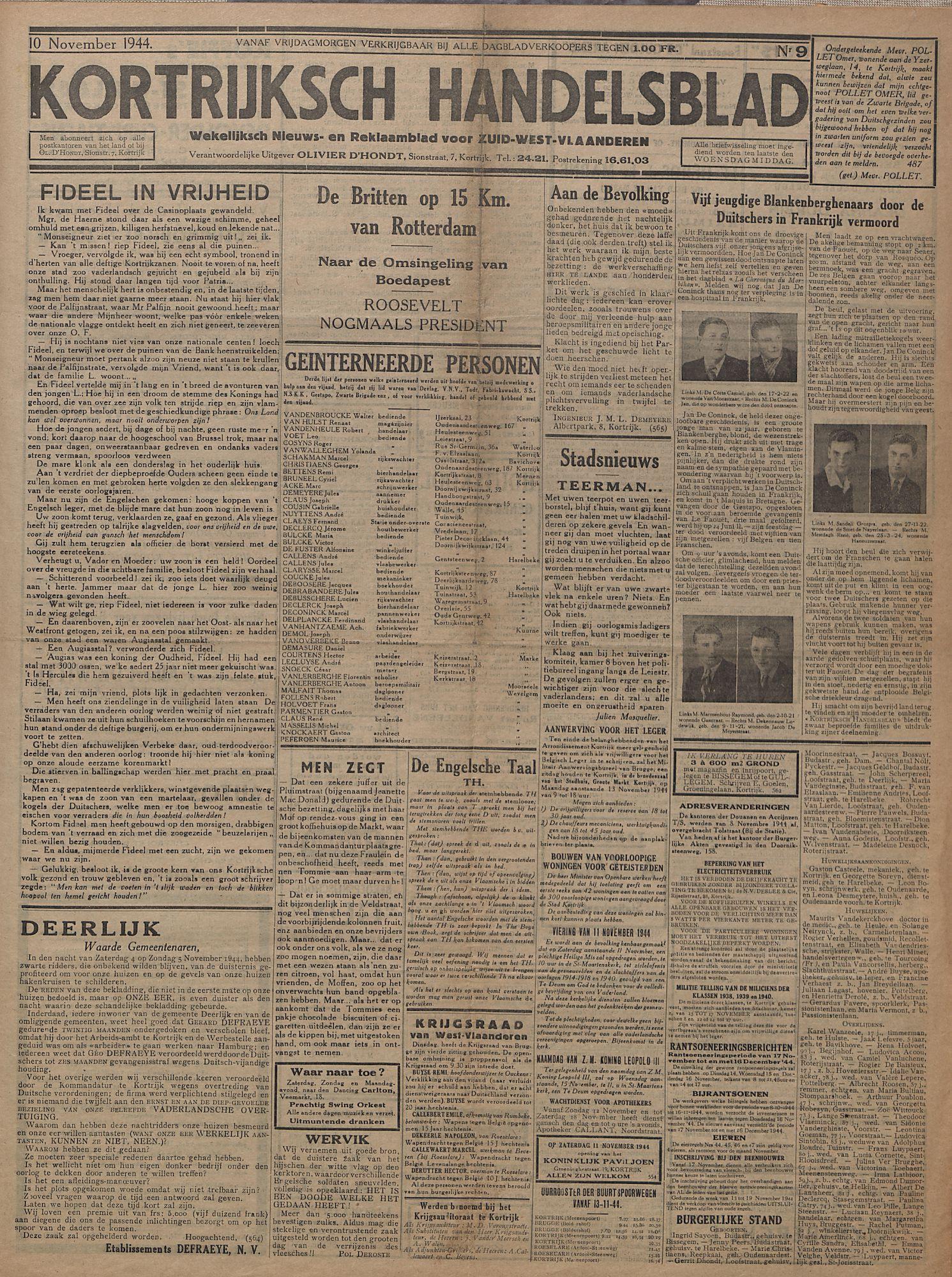 Kortrijksch Handelsblad 10 november 1944 Nr9 p1