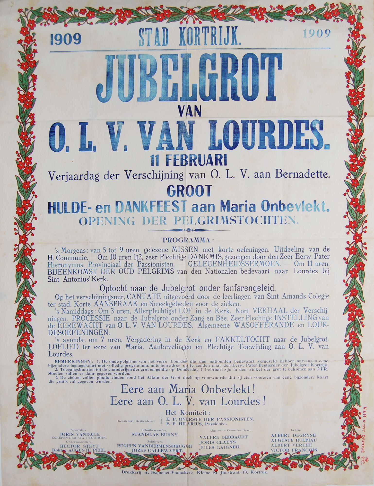 Religieuze feesten Lourdesgrot in 1909