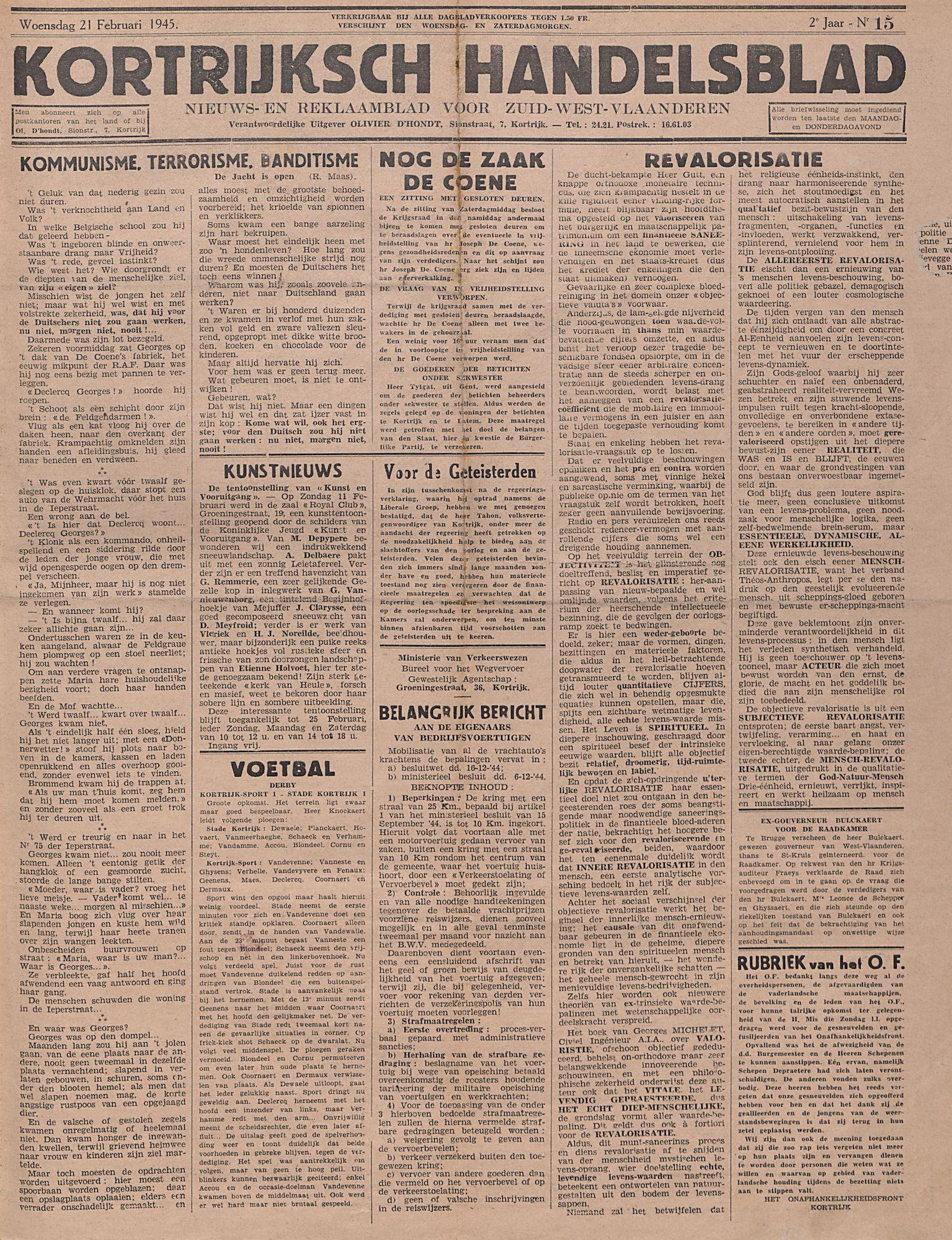 Kortrijksch Handelsblad 1945