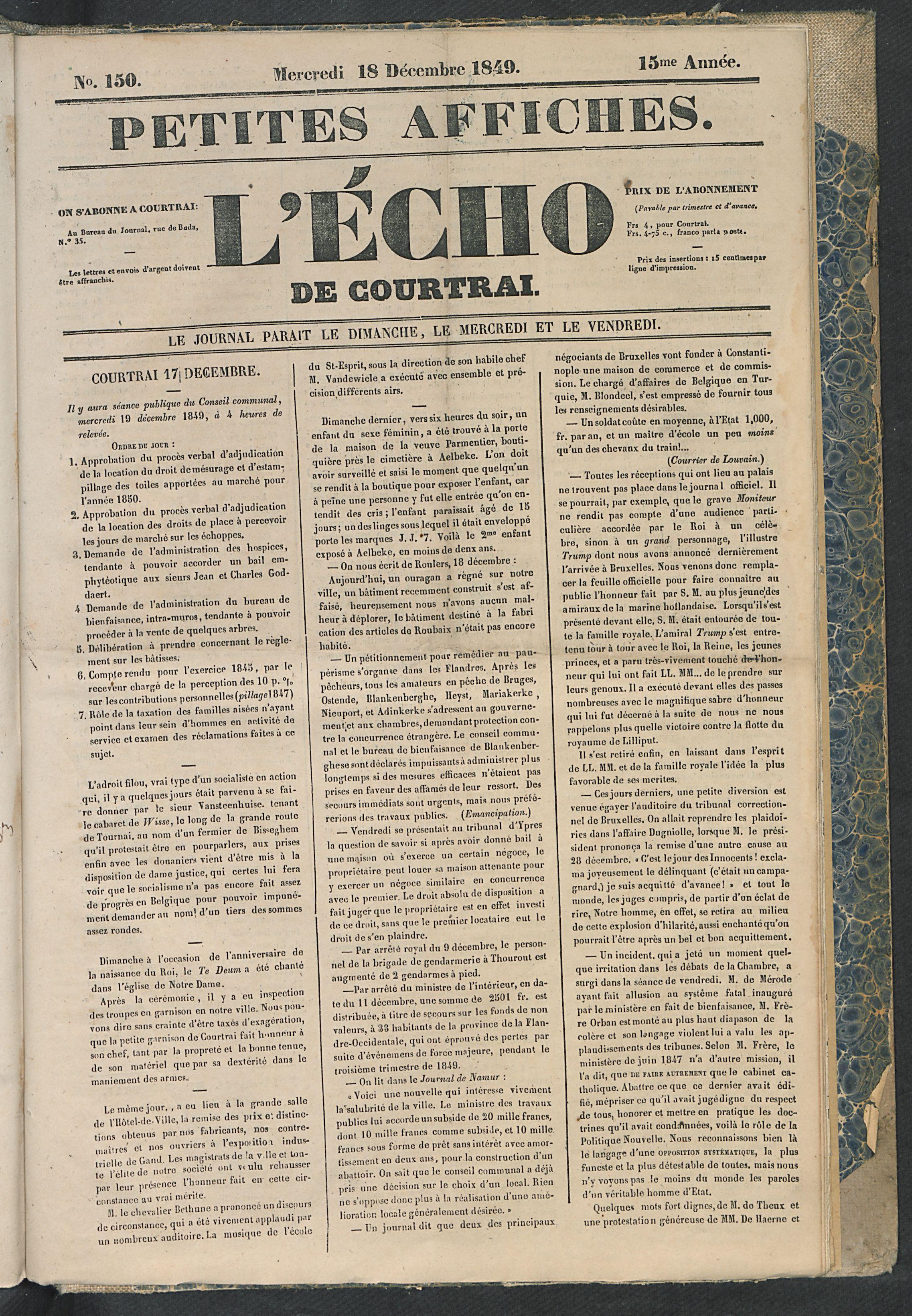 L'echo De Courtrai 1849-12-18 p1