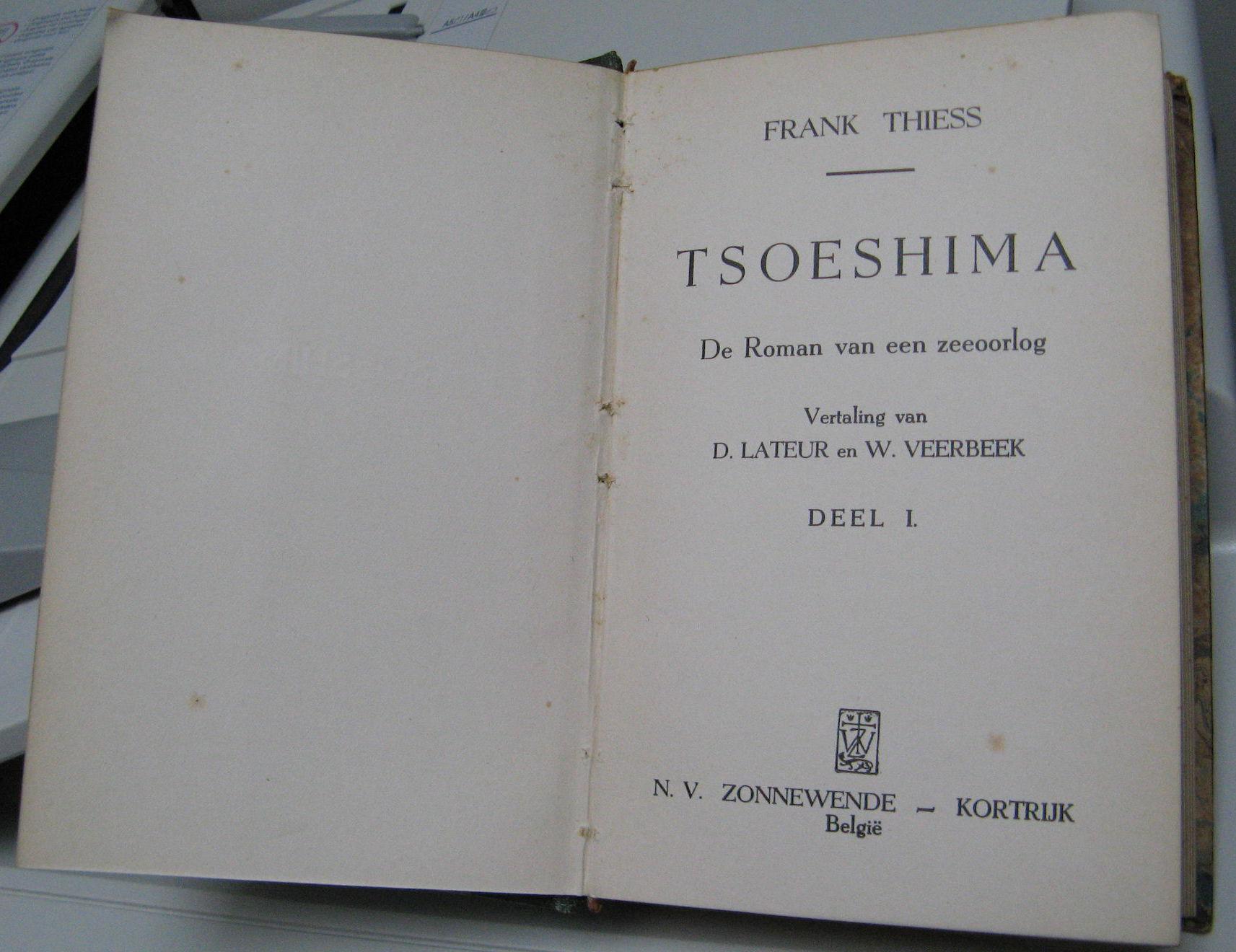 "Frank Thiess, roman ""Tsoeshima"""
