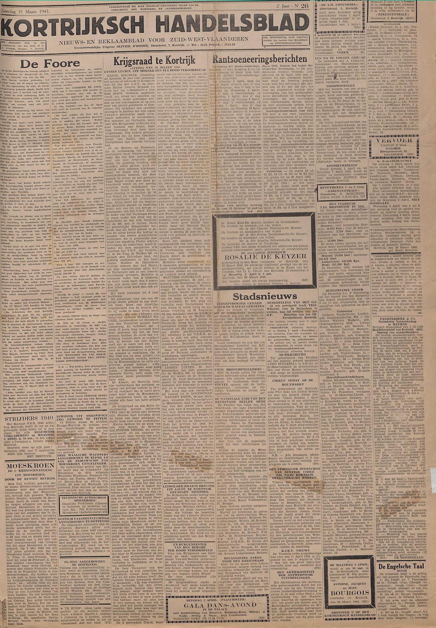 Kortrijksch Handelsblad 31 maart 1945 Nr26 p1