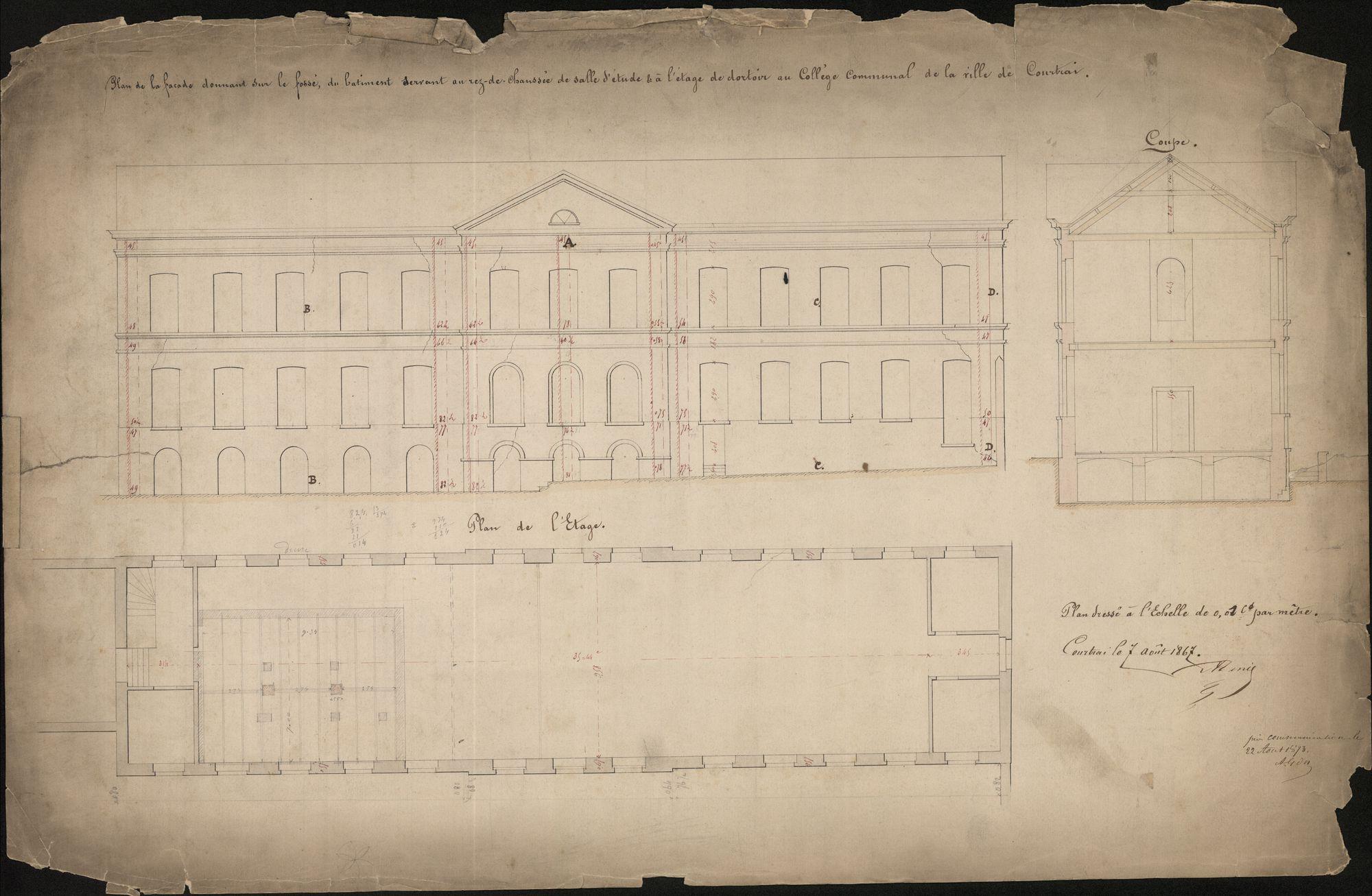 Bouwplan van het gebouw aan de zuidzijde van het Sint-Amandscollege te Kortrijk, 1867.