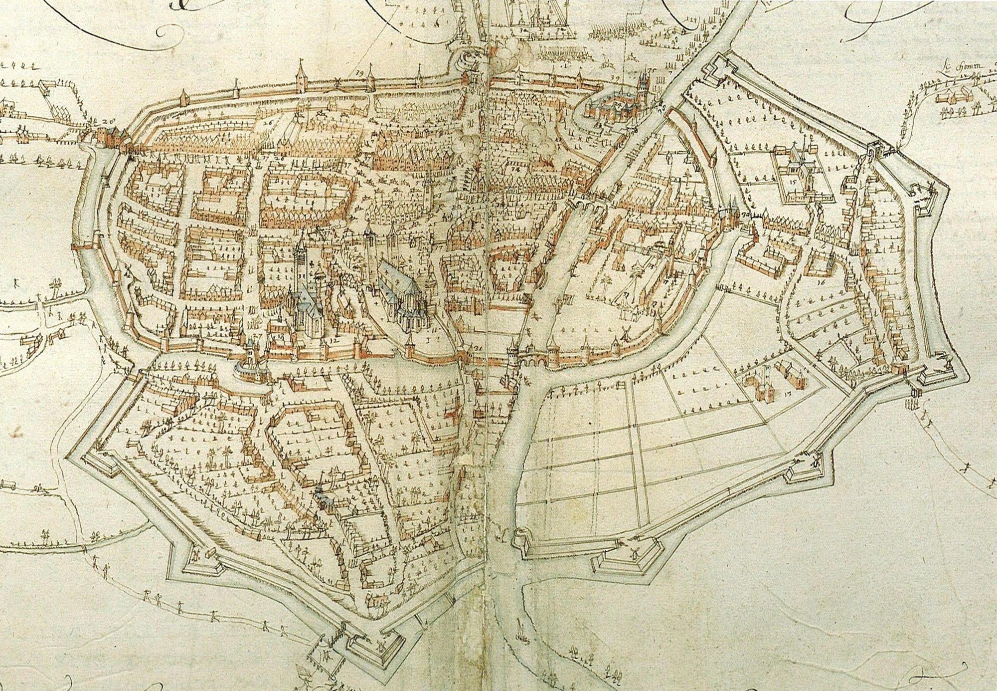 Kaart van Kortrijk in 1580