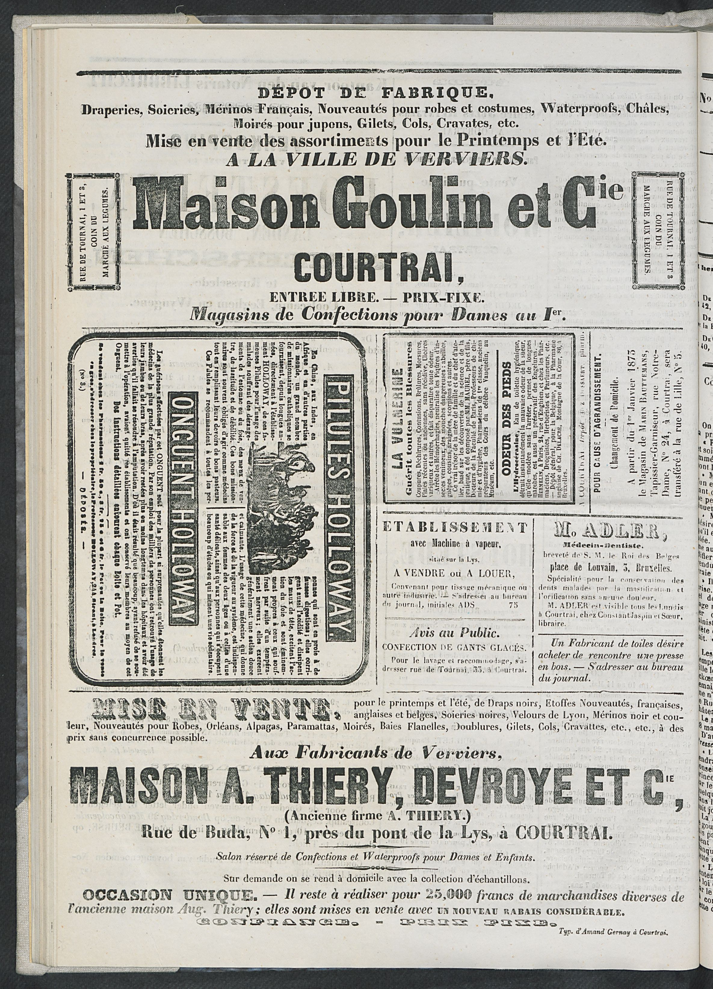 L'echo De Courtrai 1873-05-15 p4