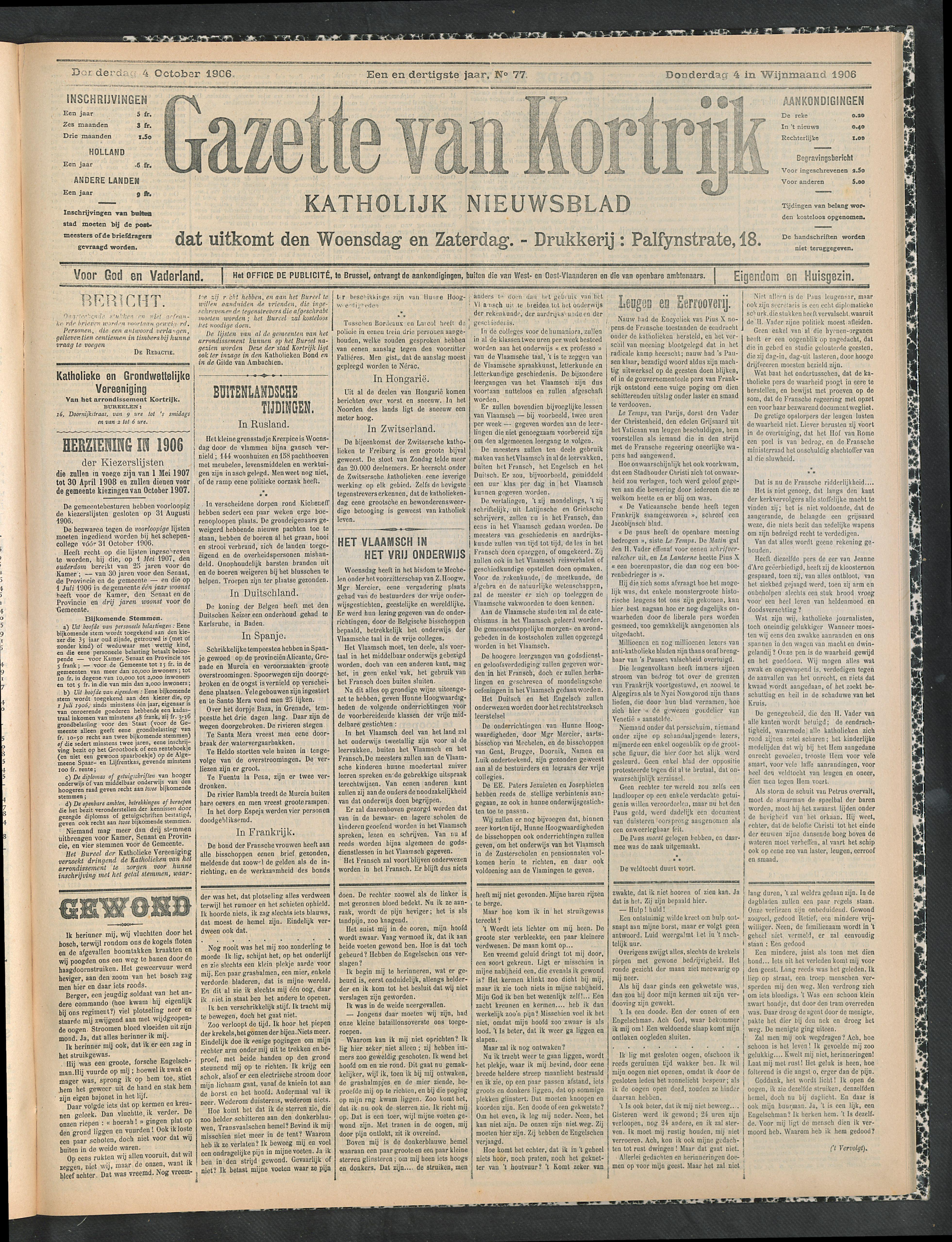 Gazette Van Kortrijk 1906-10-04 p1