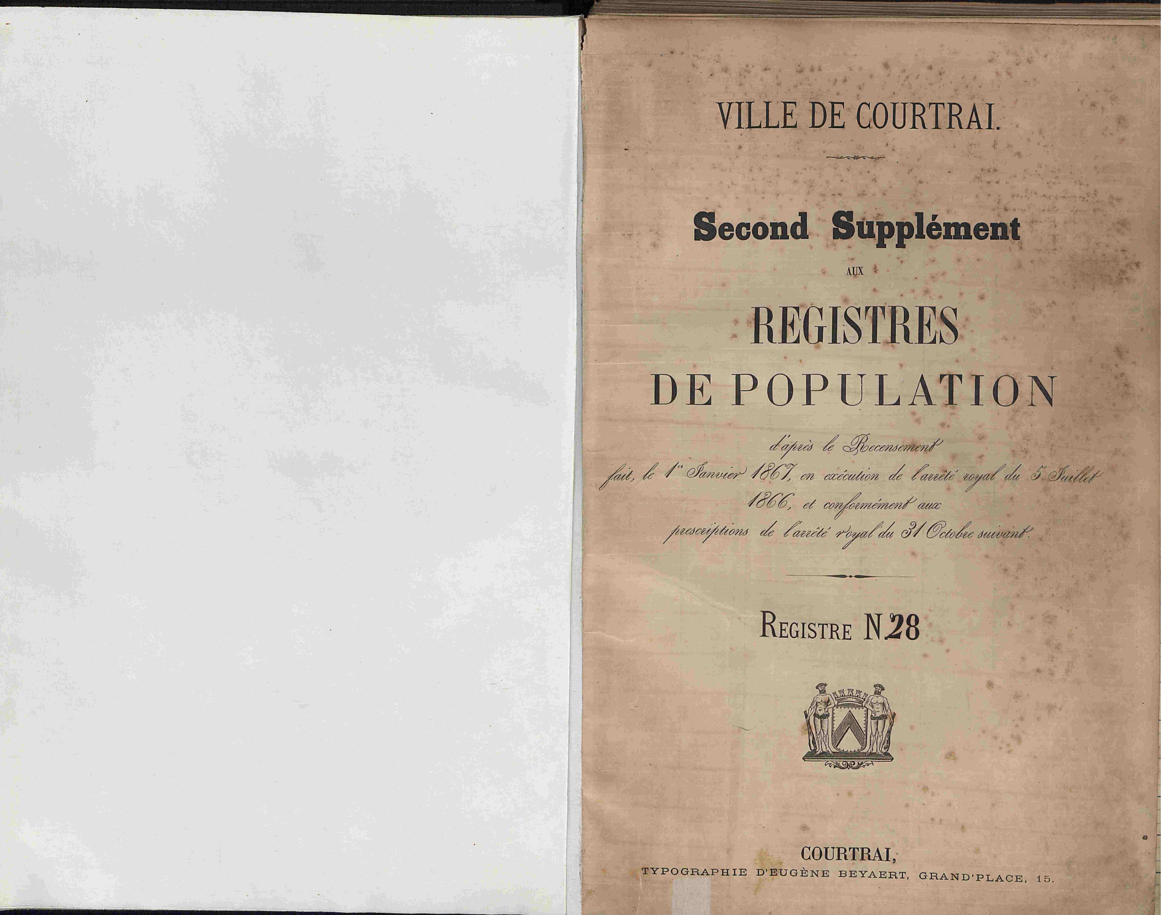 Bevolkingsregister Kortrijk 1866 boek 28