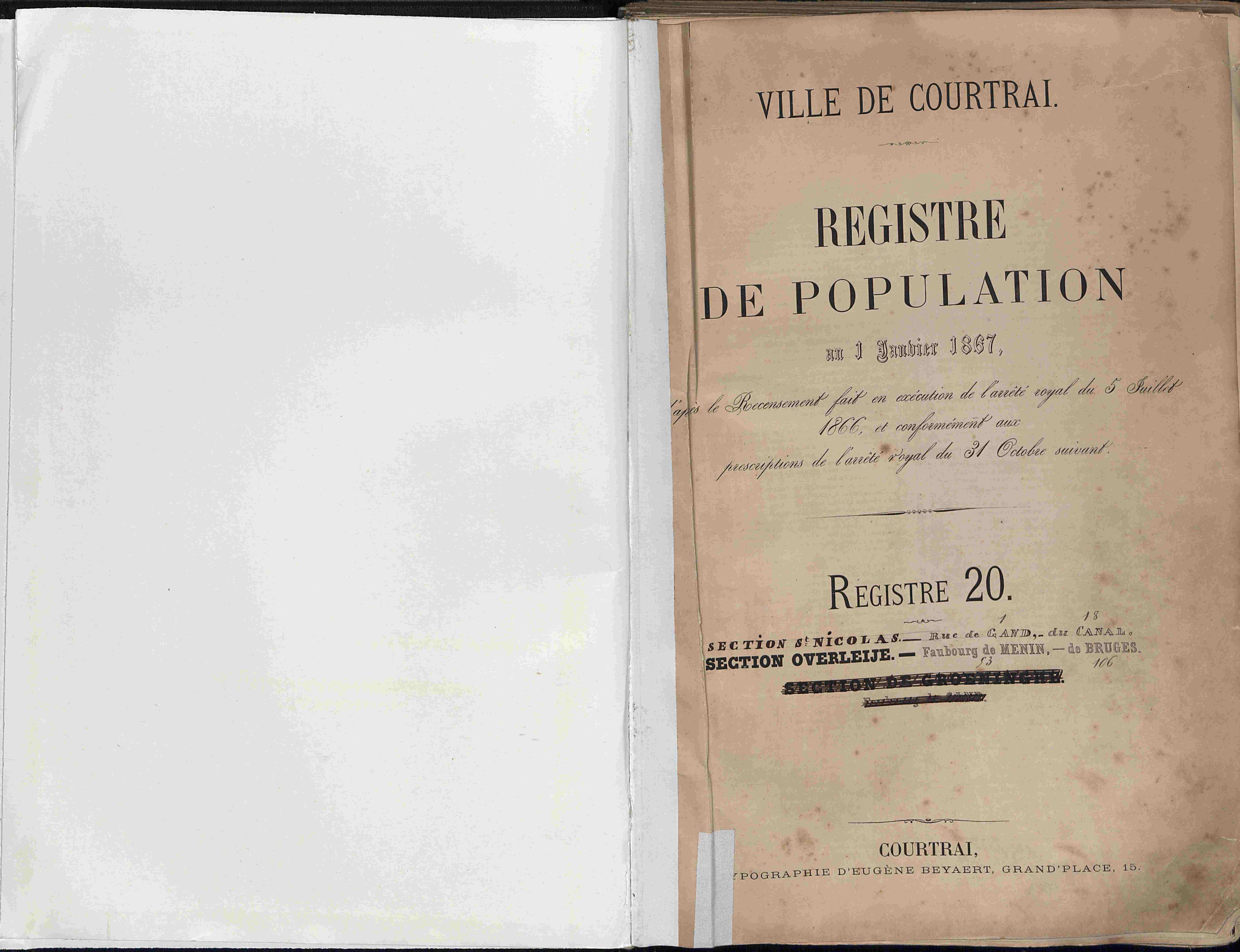 Bevolkingsregister Kortrijk 1866 boek 20
