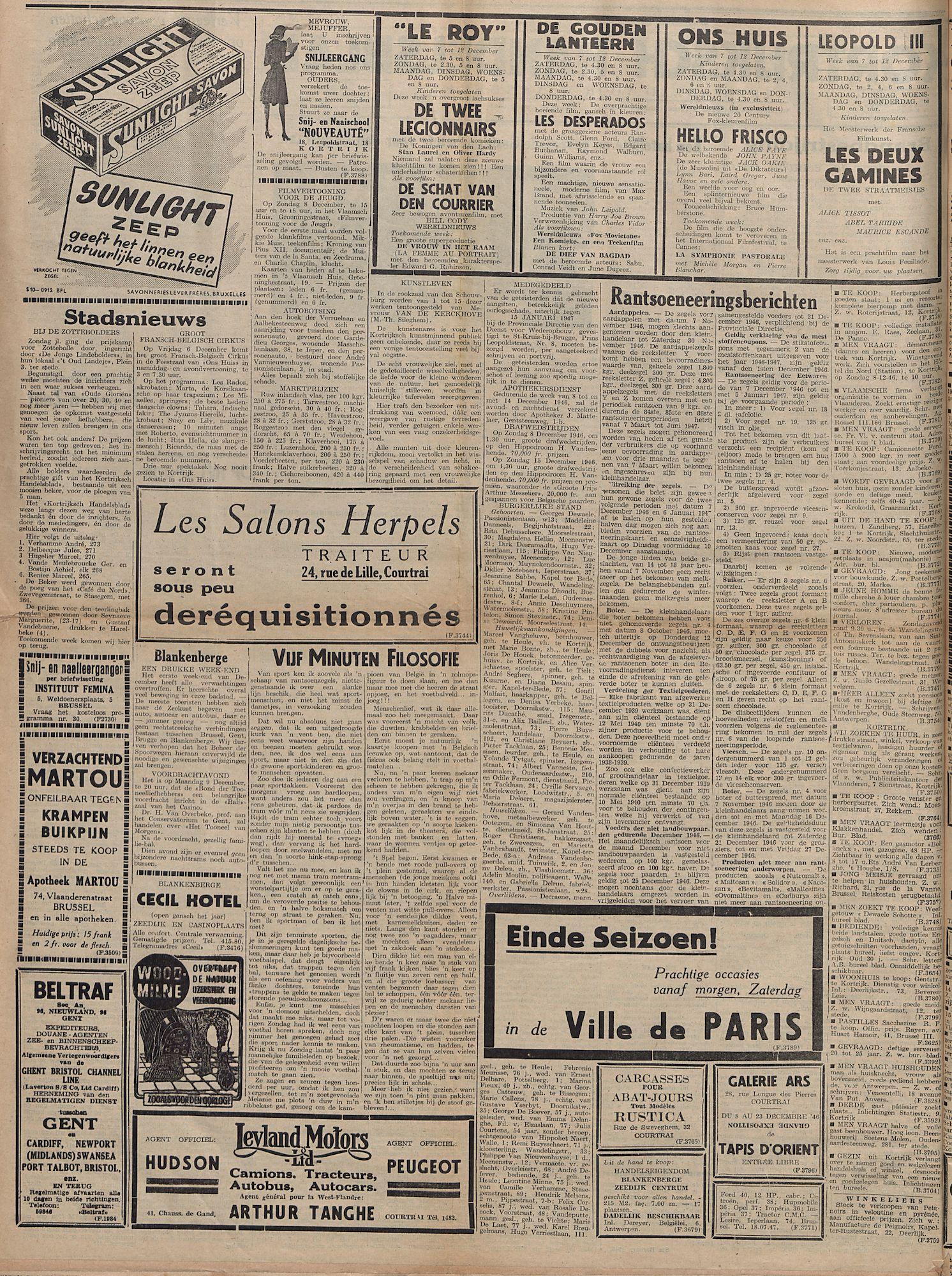 Kortrijksch Handelsblad 5 december 1946 Nr98 p2